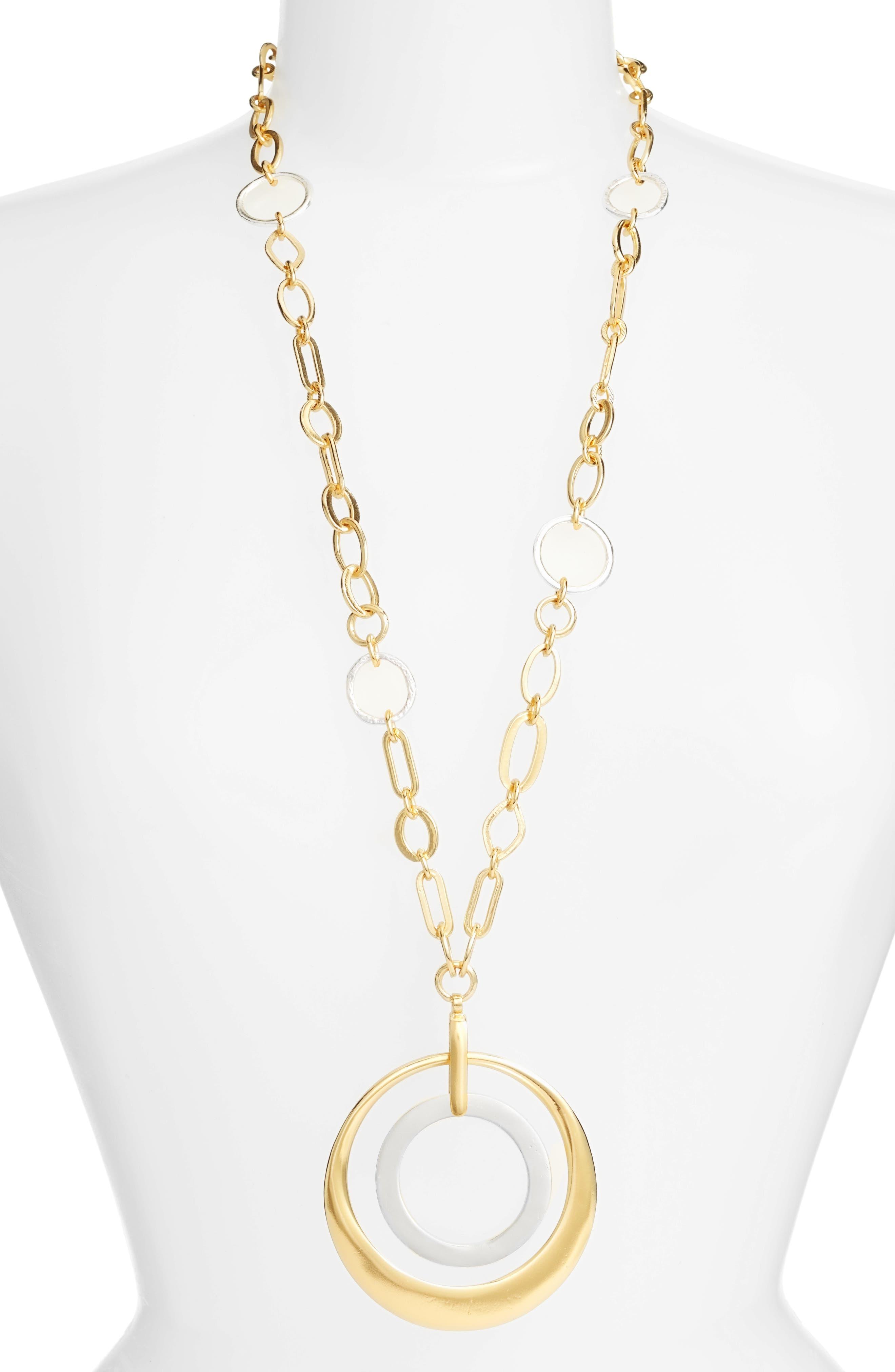 Double Circle Pendant Necklace,                             Main thumbnail 1, color,                             GOLD
