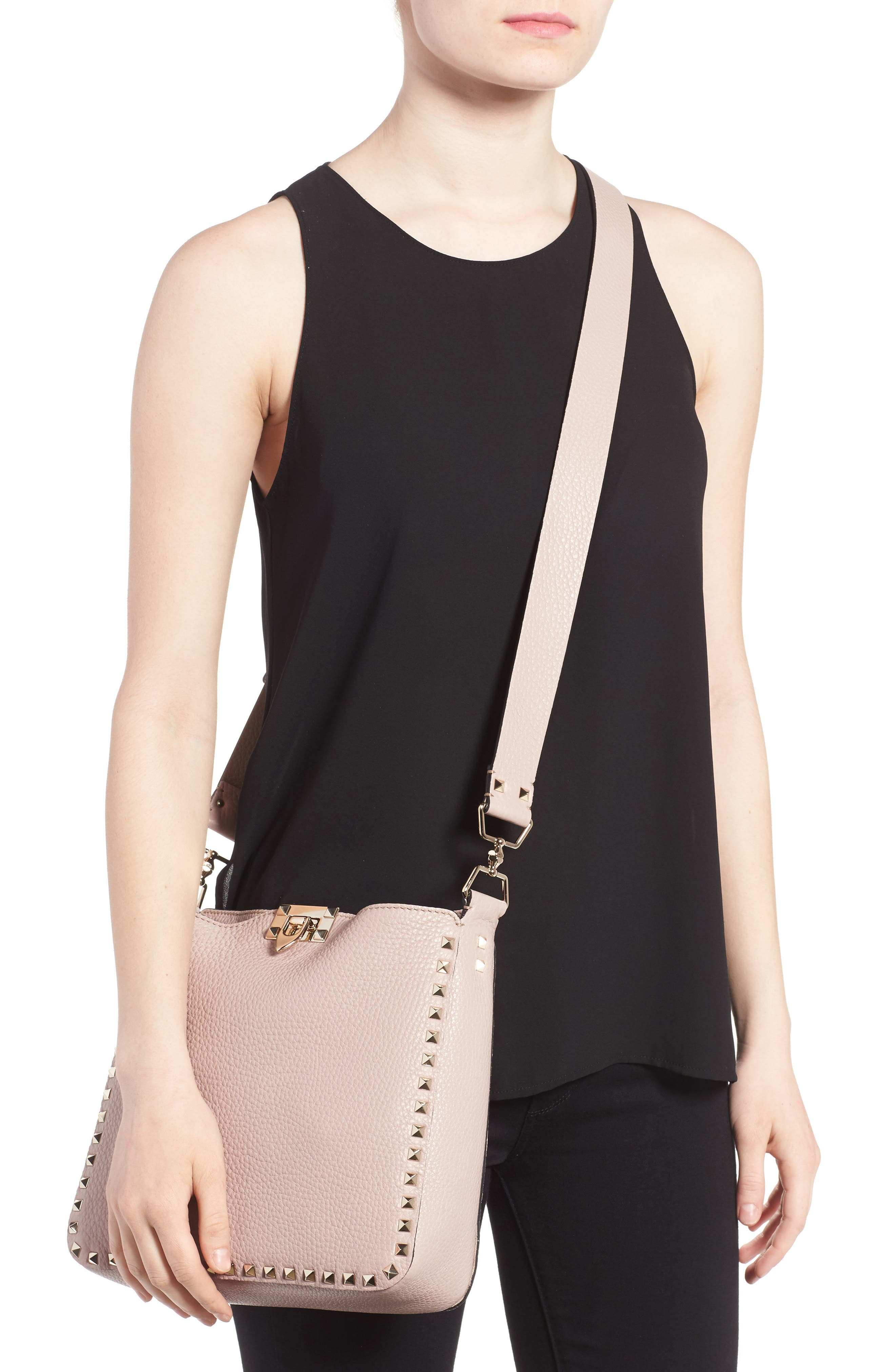Vitello Rockstud Leather Hobo,                             Alternate thumbnail 2, color,                             950
