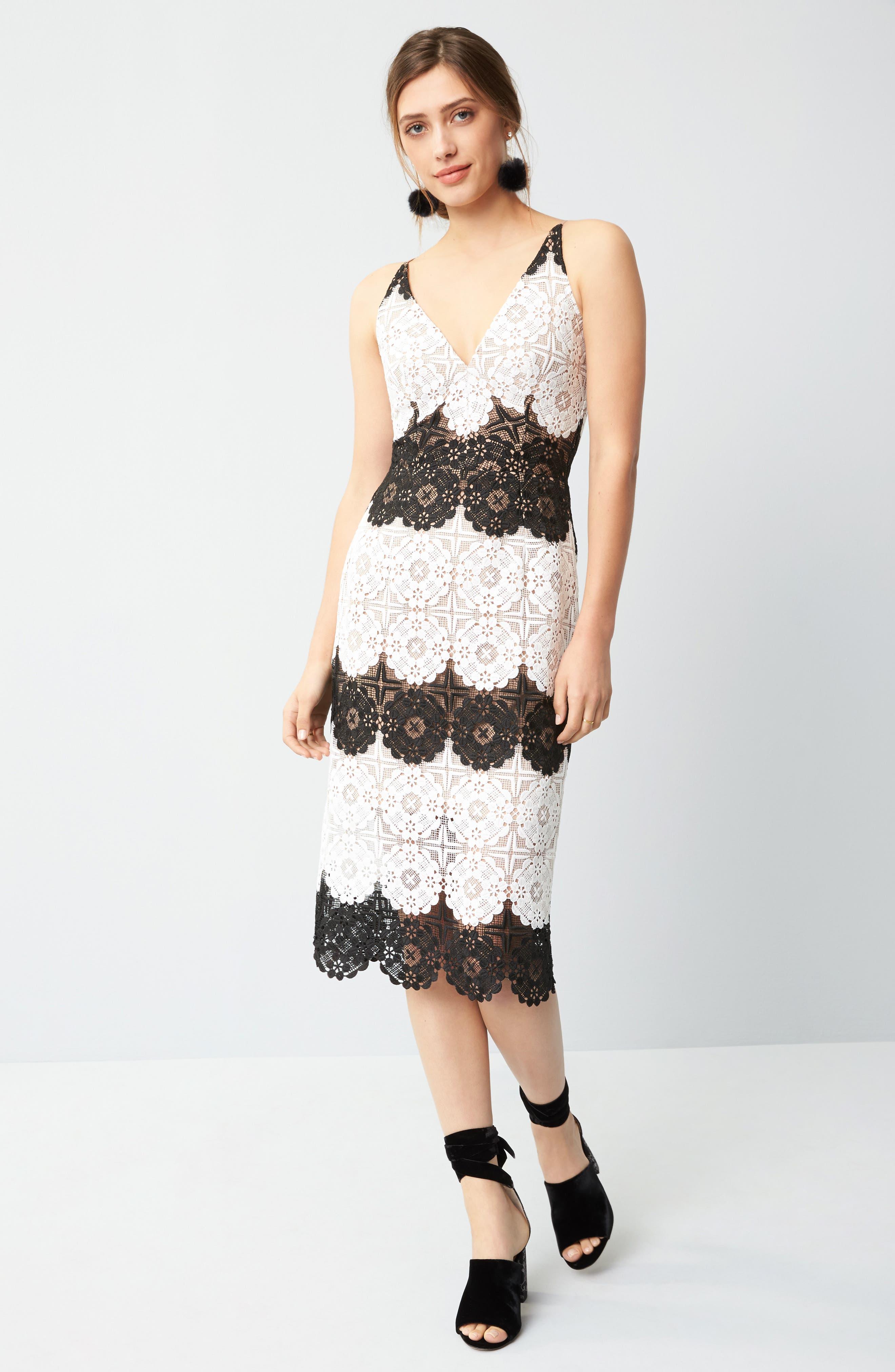 Vera Crochet Stripe Sheath Dress,                             Alternate thumbnail 8, color,                             011