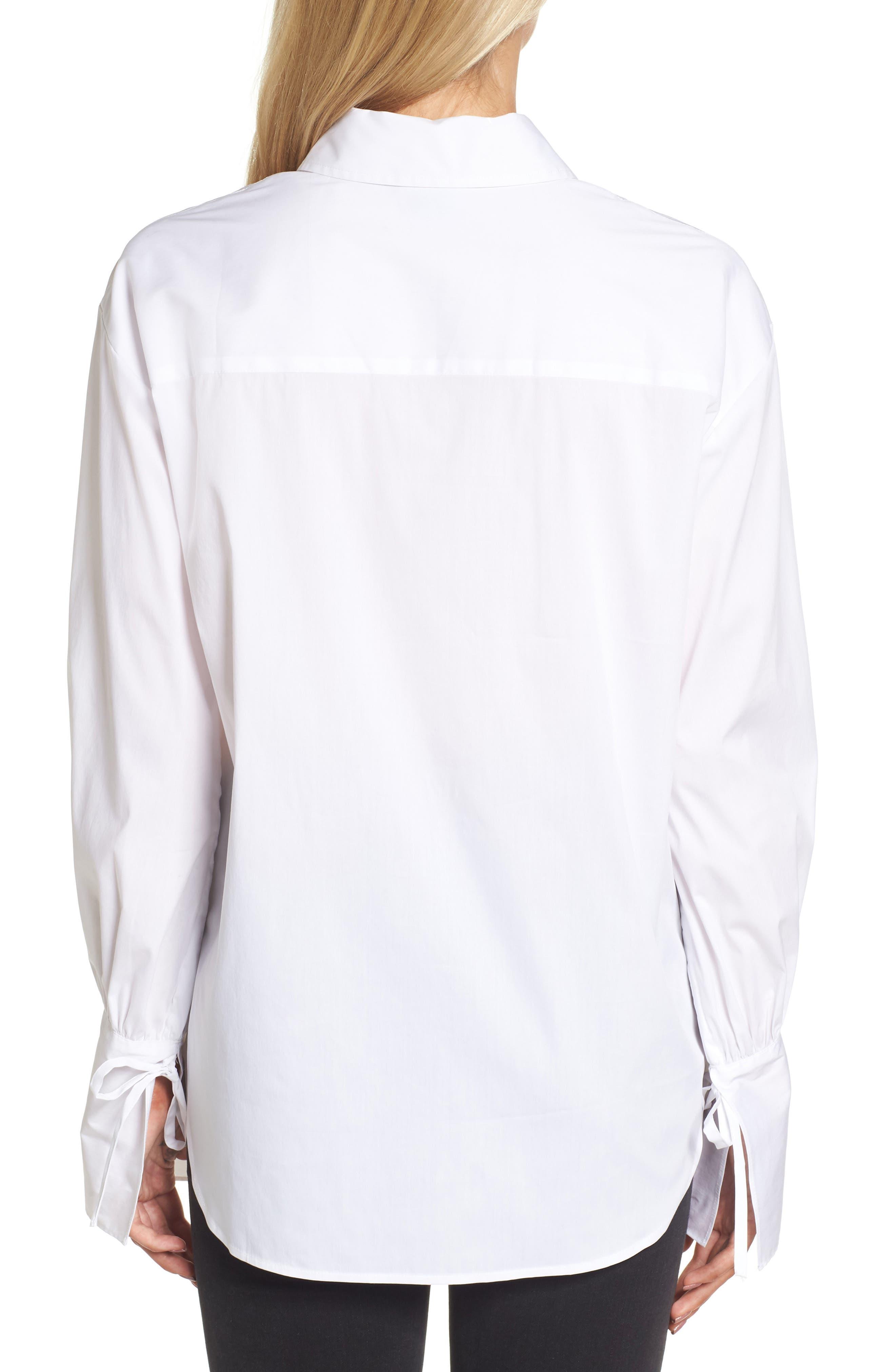 Tie Sleeve Poplin Shirt,                             Alternate thumbnail 2, color,