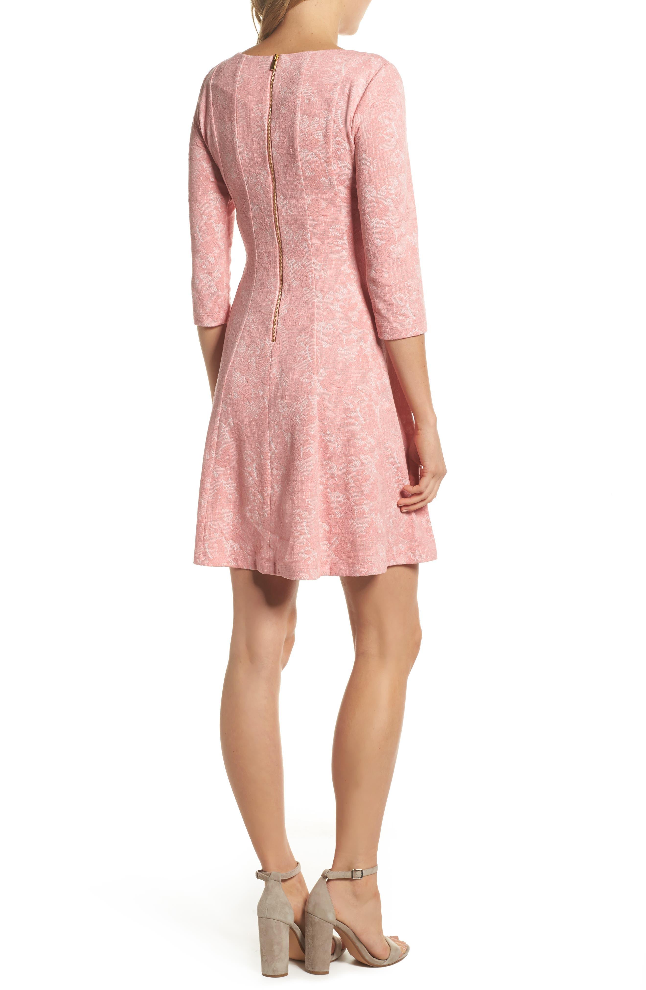 Jacquard Knit Fit & Flare Dress,                             Alternate thumbnail 2, color,                             651