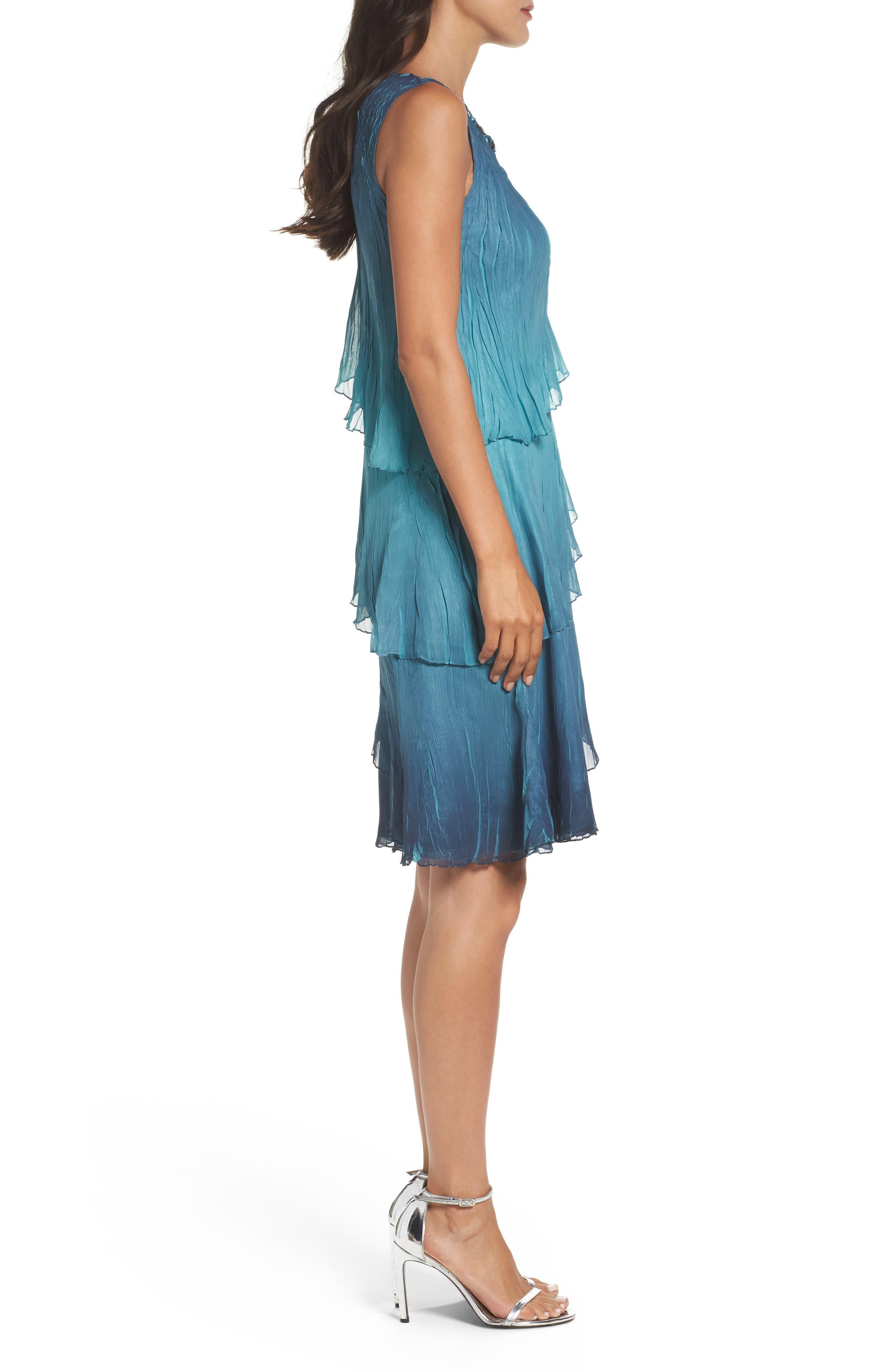 Tiered Chiffon Shift Dress with Shawl,                             Alternate thumbnail 3, color,                             491