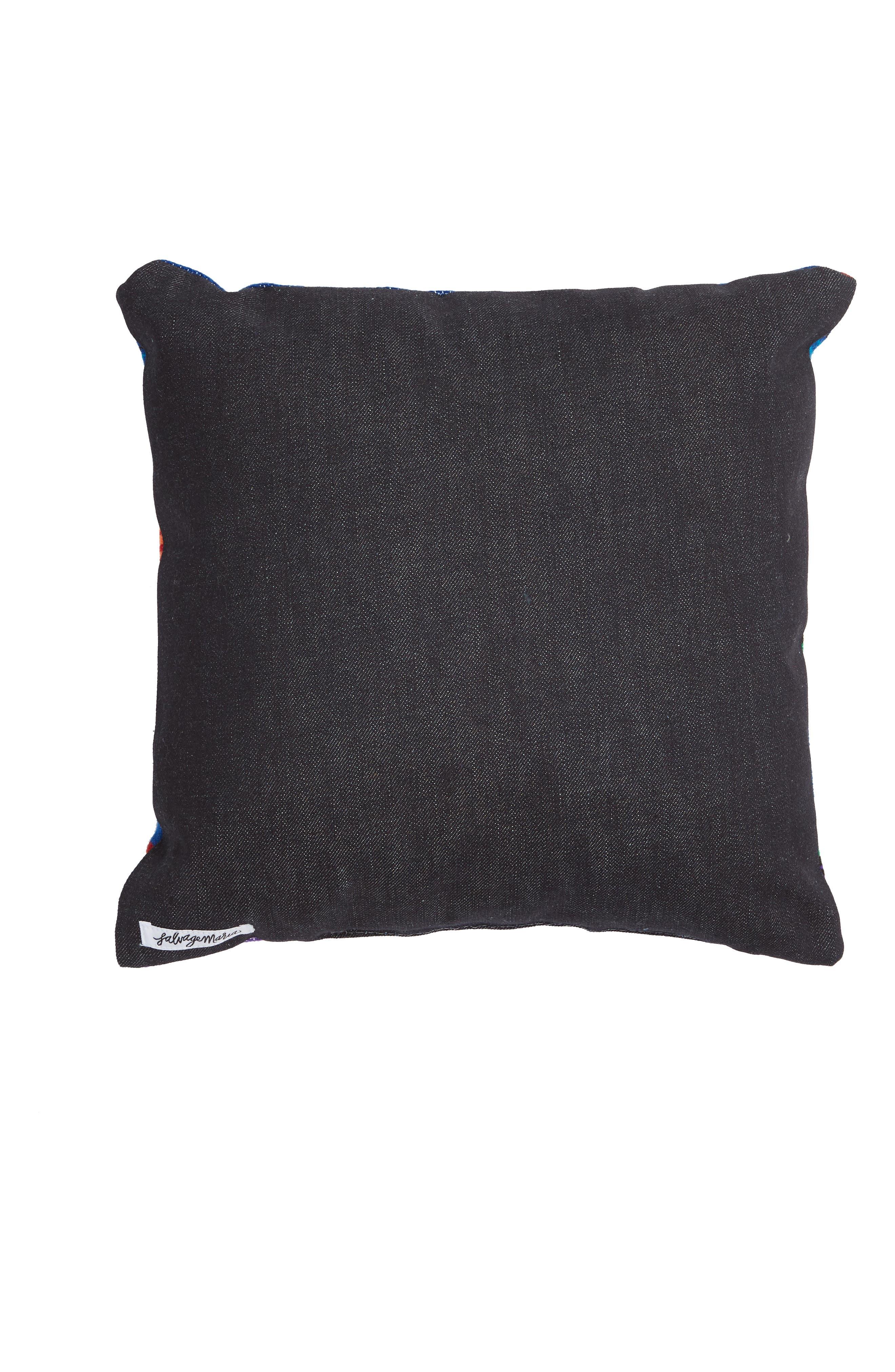 Small Salito Serape Square Accent Pillow,                             Alternate thumbnail 2, color,                             BLUE/ AZULE