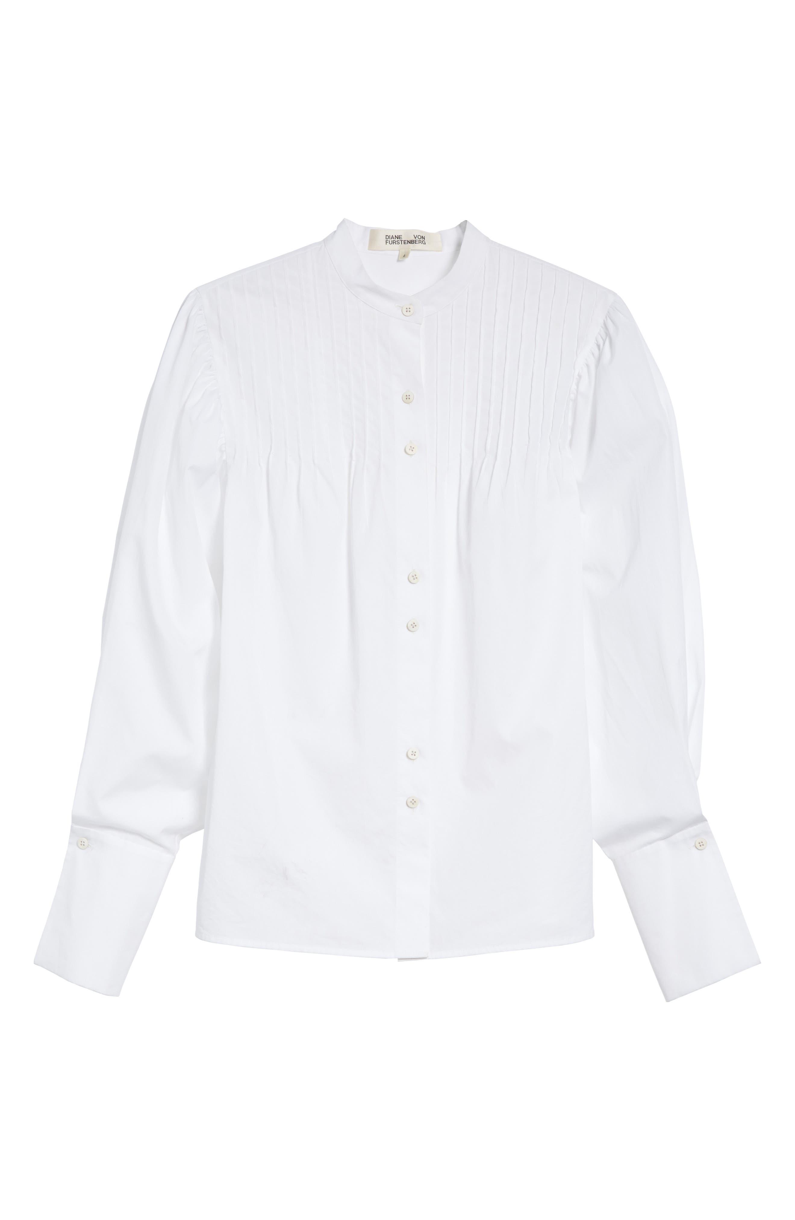 Diane von Furstenberg Pintuck Cotton Blouse,                             Alternate thumbnail 6, color,                             100