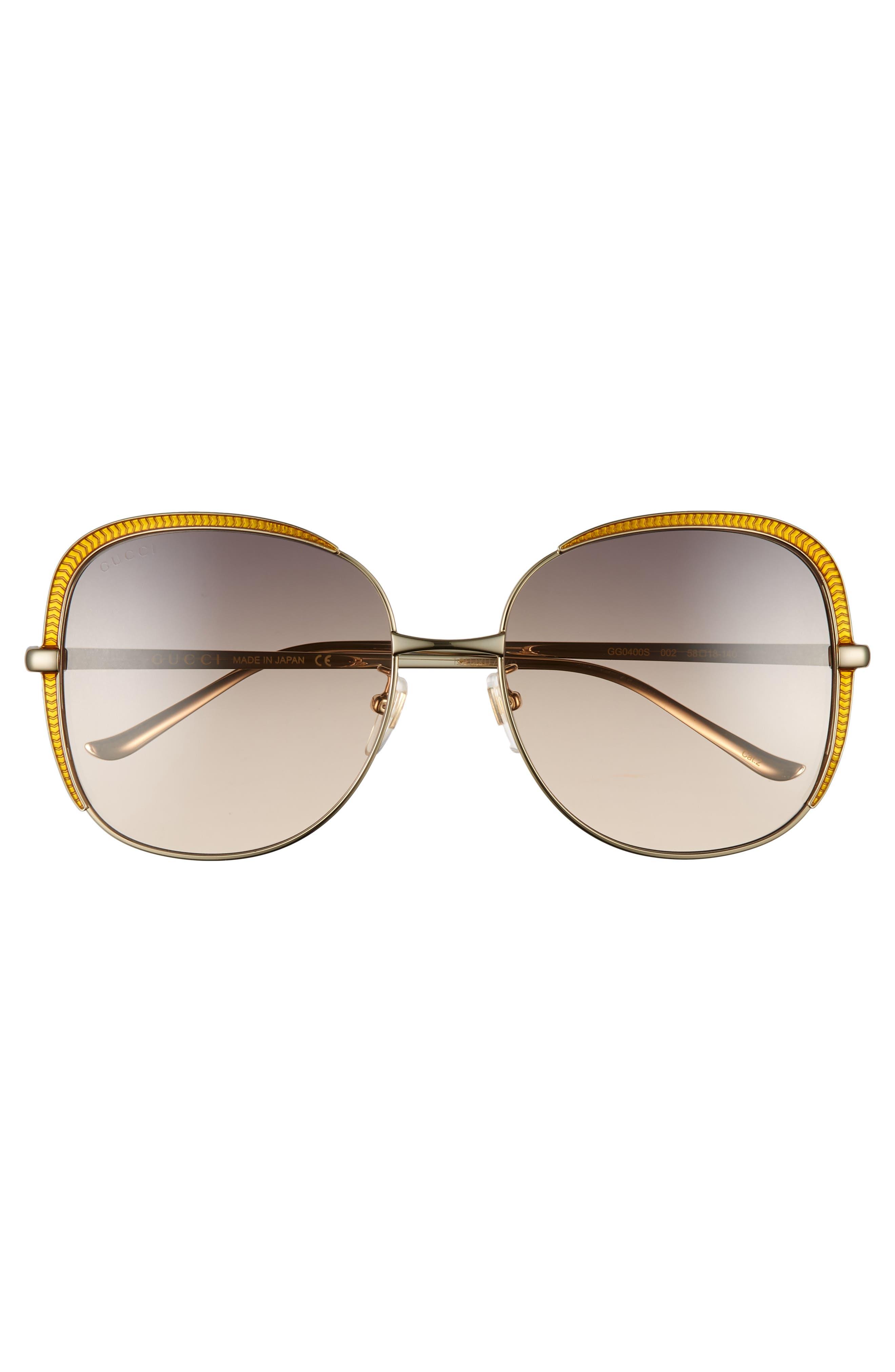 58mm Gradient Sunglasses,                             Alternate thumbnail 3, color,                             GOLD/ PINK/ GREY GRADIENT