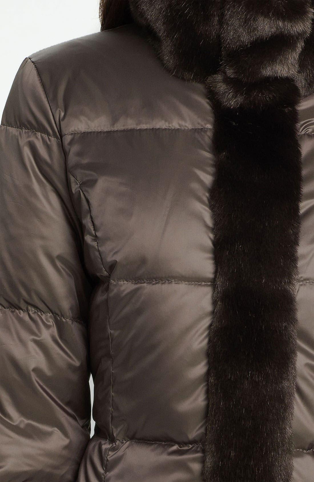 ELLEN TRACY,                             Faux Fur Trim Quilted Coat,                             Alternate thumbnail 3, color,                             200