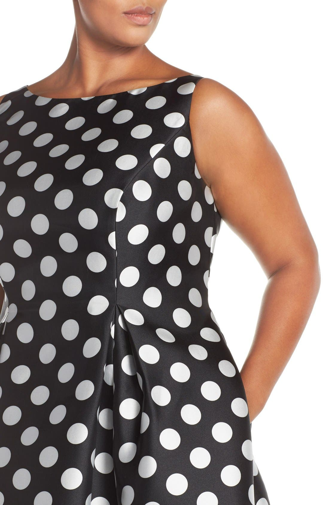 Sleeveless Mikado Fit & Flare Polka Dot Midi Dress,                             Alternate thumbnail 4, color,                             003