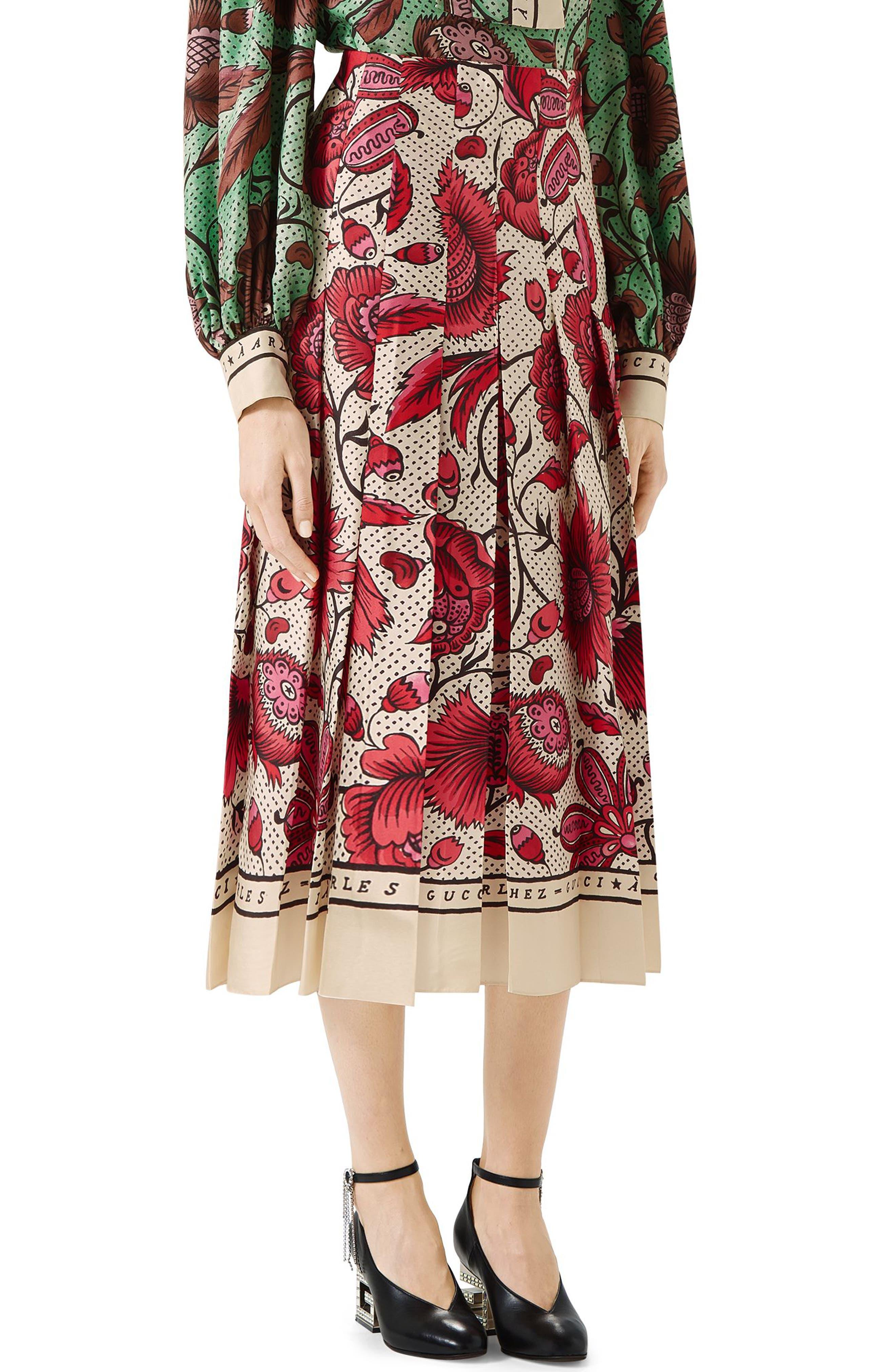 Watercolor Floral Print Pleated Silk Twill Midi Skirt,                             Main thumbnail 1, color,                             5349 FUCHSIA/ IVORY PRINTE