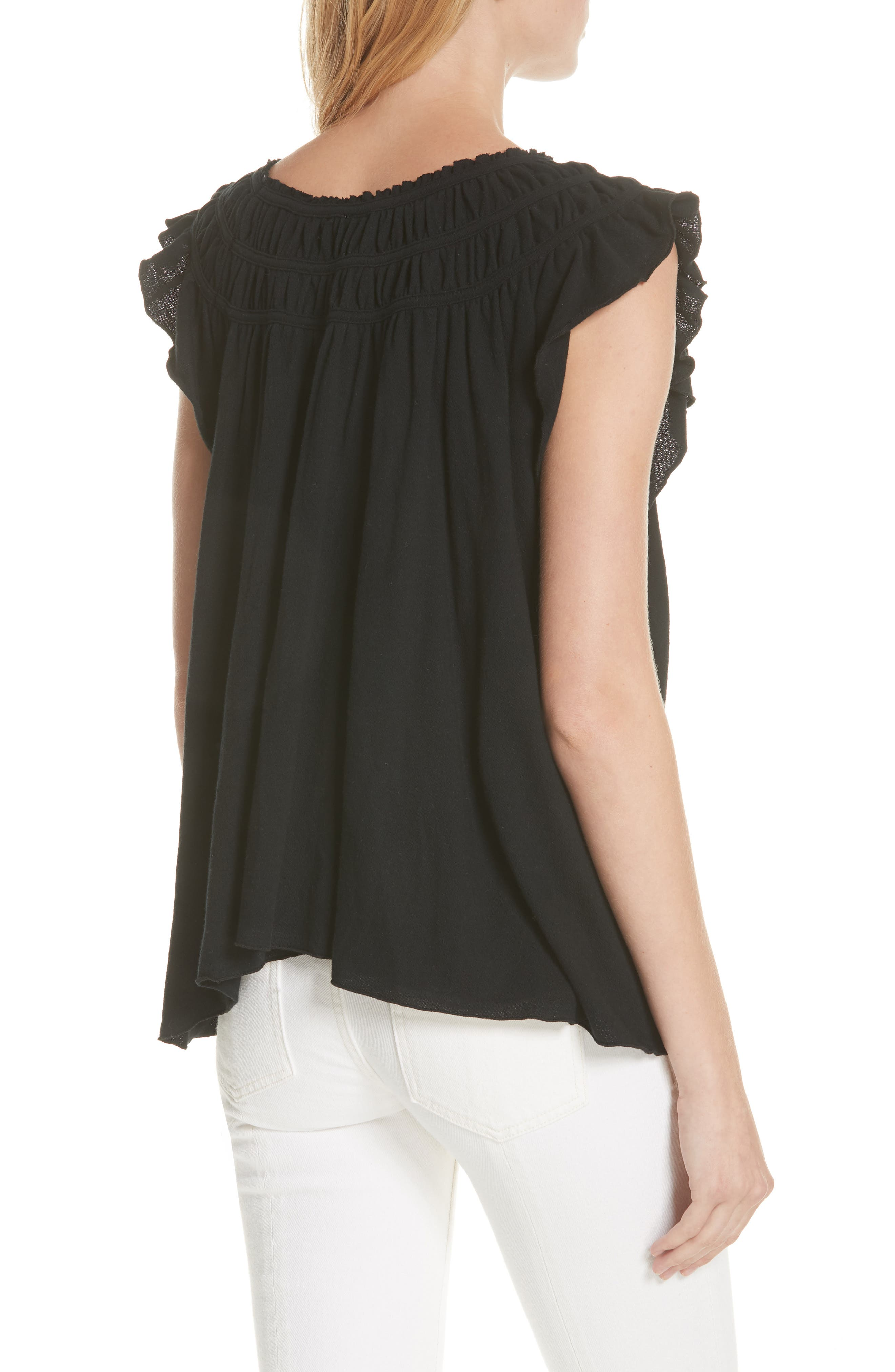 We the Free by Free People Coconut Gathered Top,                             Alternate thumbnail 2, color,                             BLACK