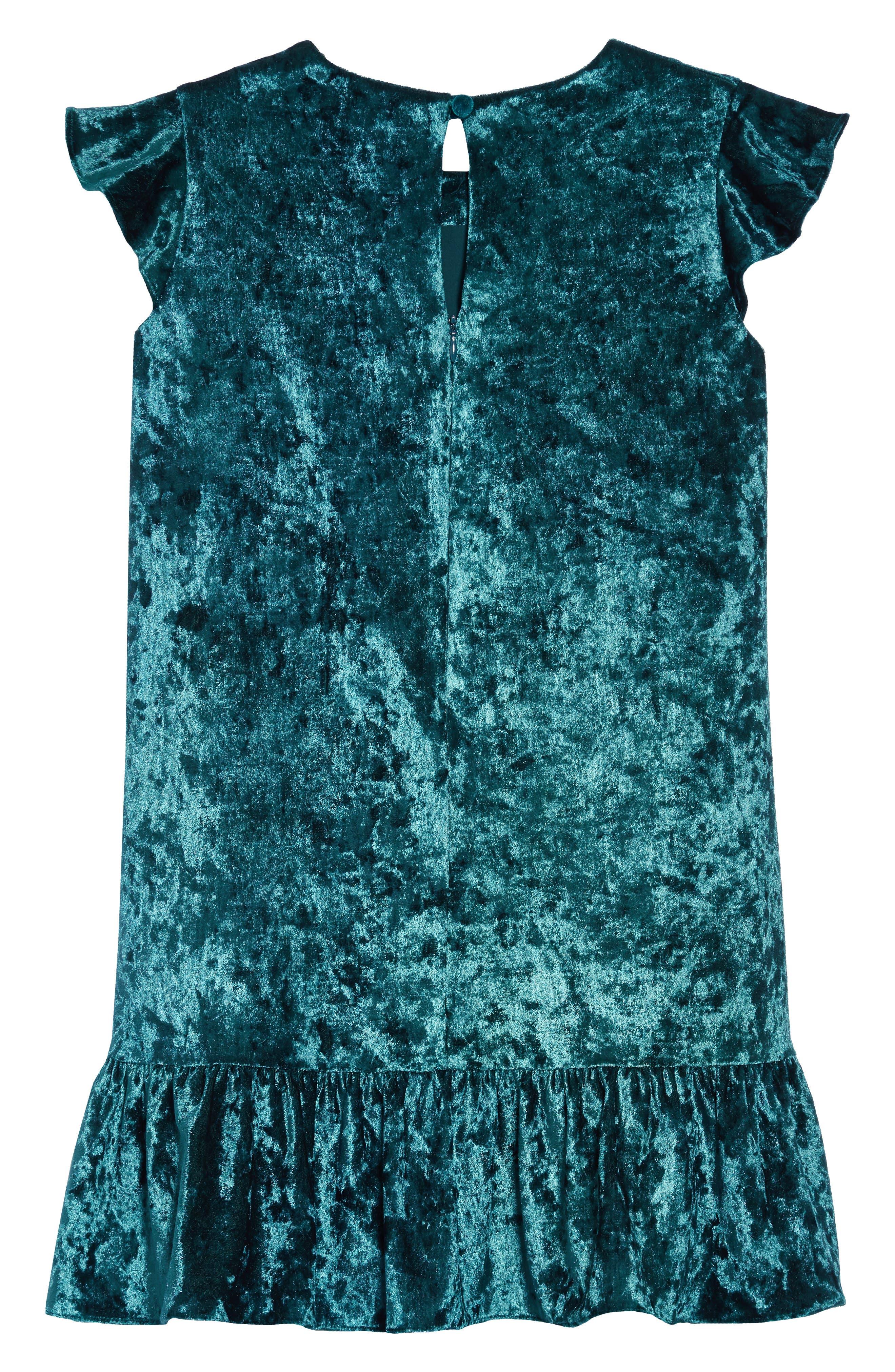 Shay Crushed Velvet Dress,                             Alternate thumbnail 2, color,                             TEAL