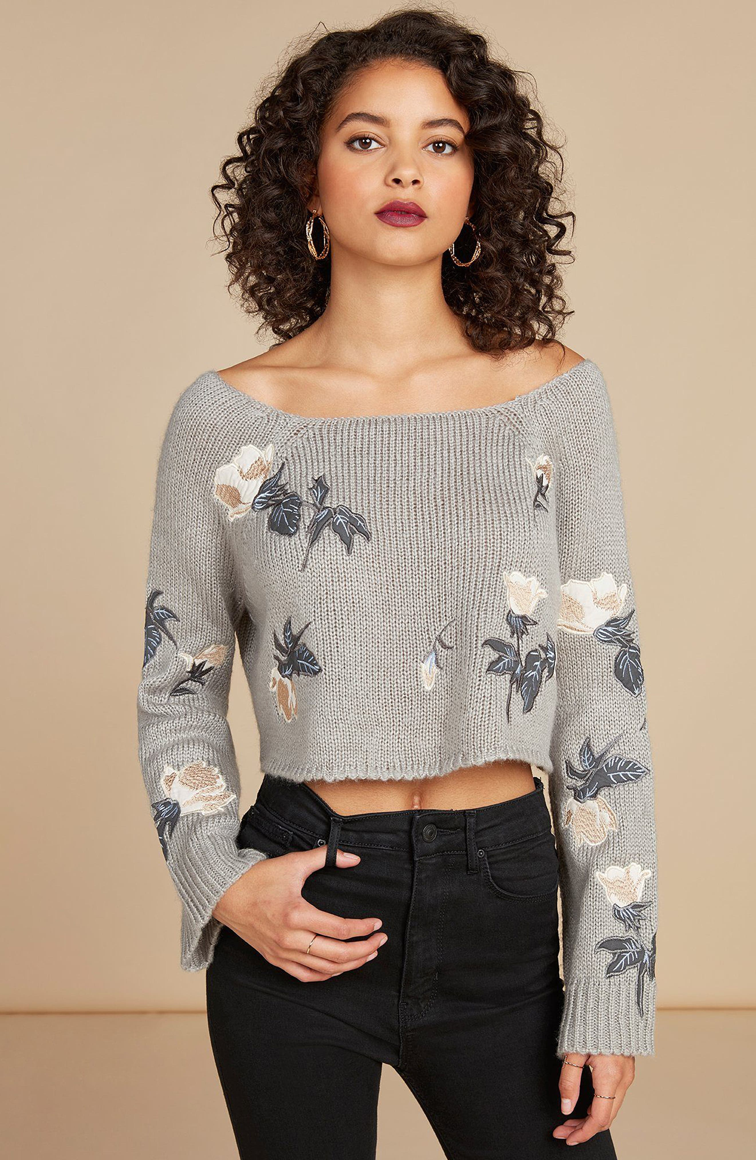 Floral Detail Bell Sleeve Crop Sweater,                             Alternate thumbnail 7, color,                             060