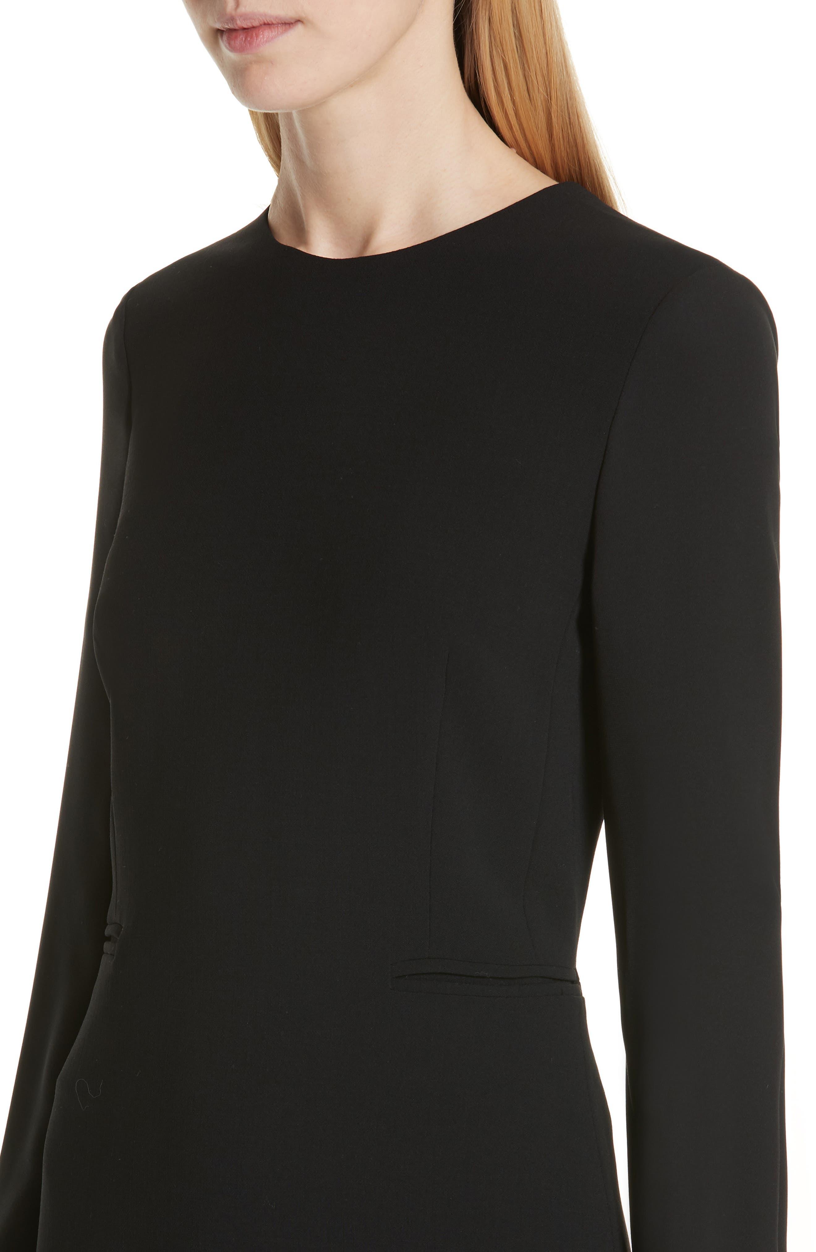 Ottelia Stretch Wool Sheath Dress,                             Alternate thumbnail 4, color,                             BLACK