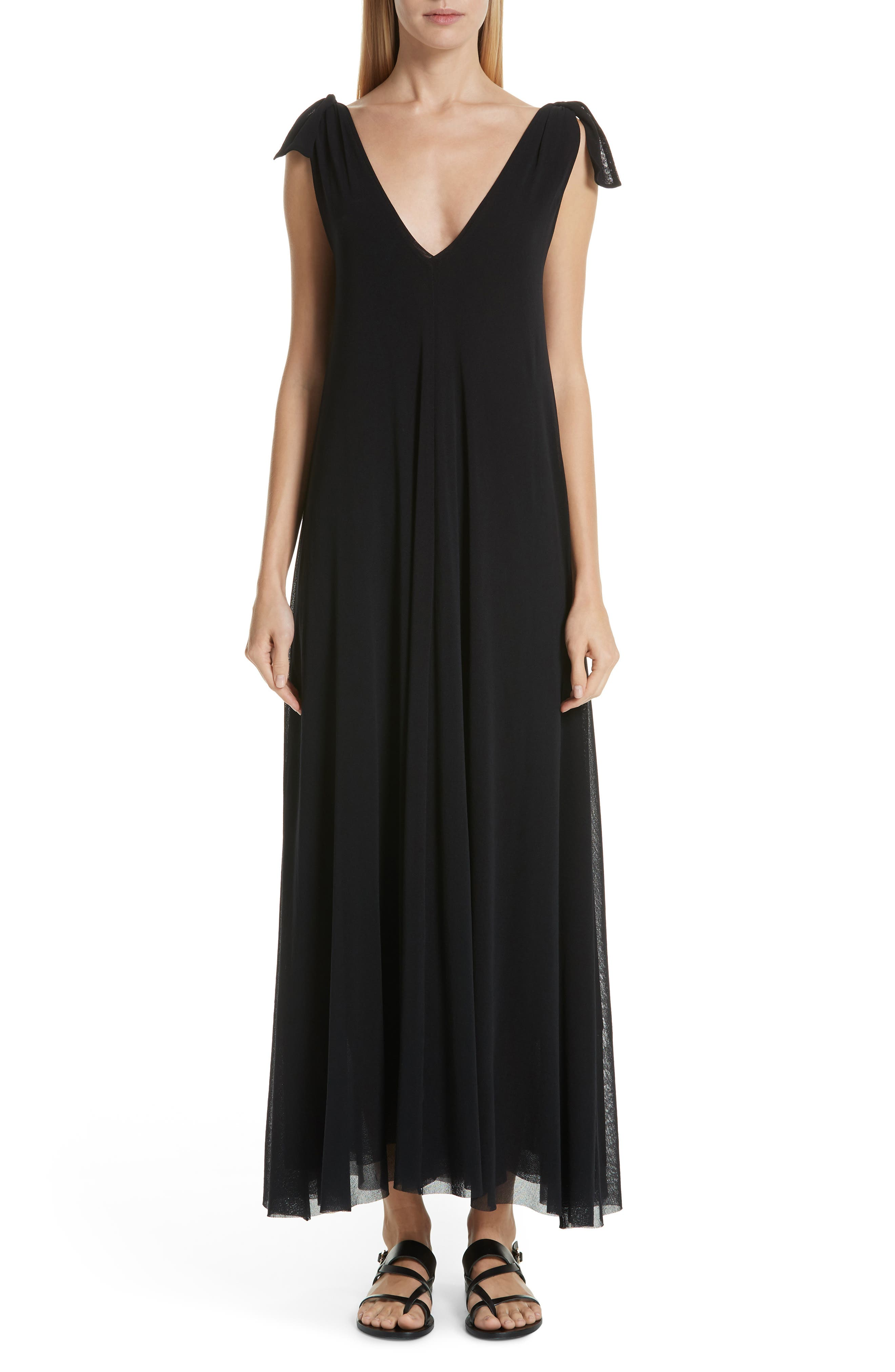 Fuzzi Tulle Maxi Dress, Black