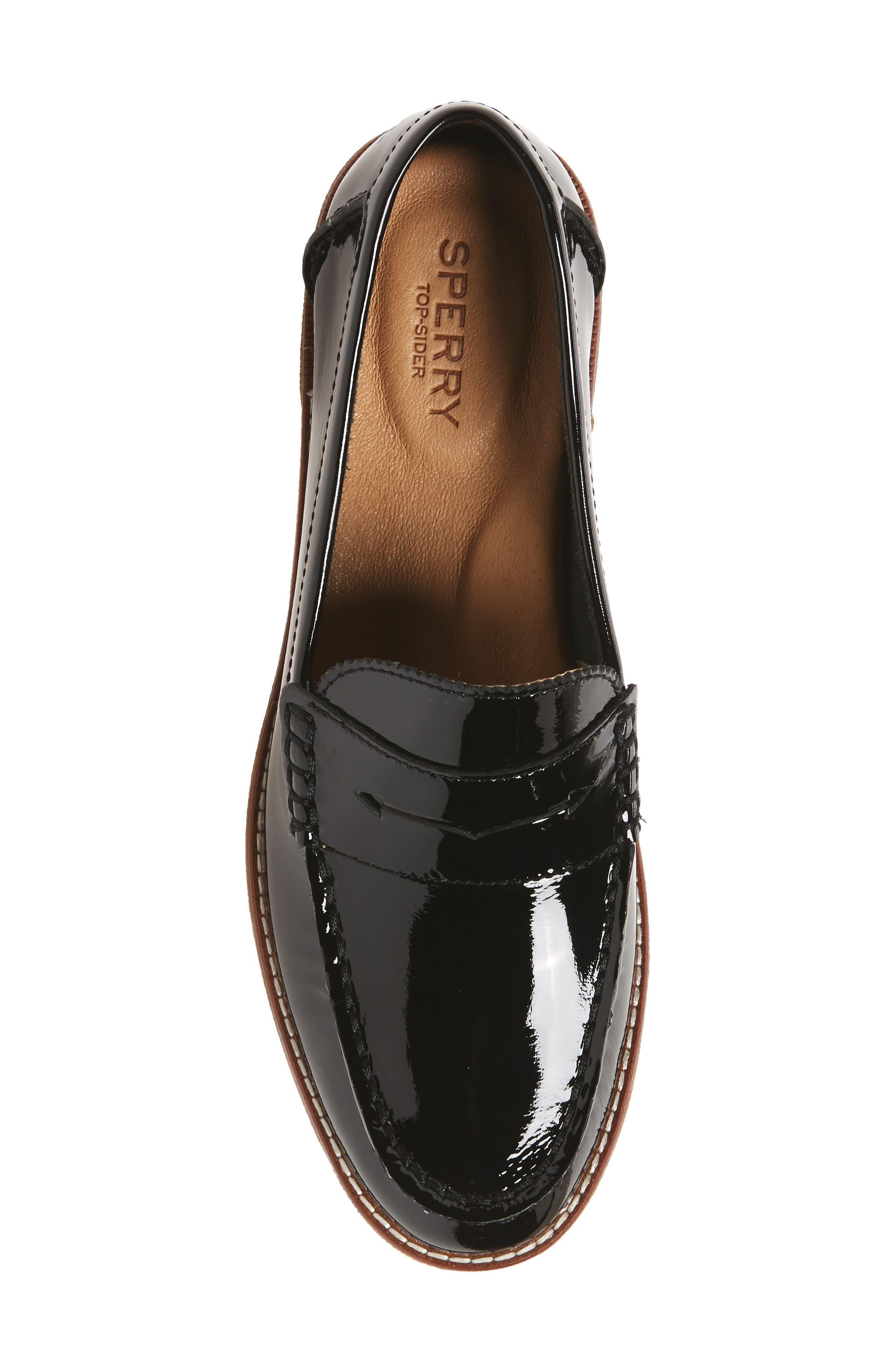 Seaport Penny Loafer,                             Alternate thumbnail 5, color,                             BLACK PATENT LEATHER
