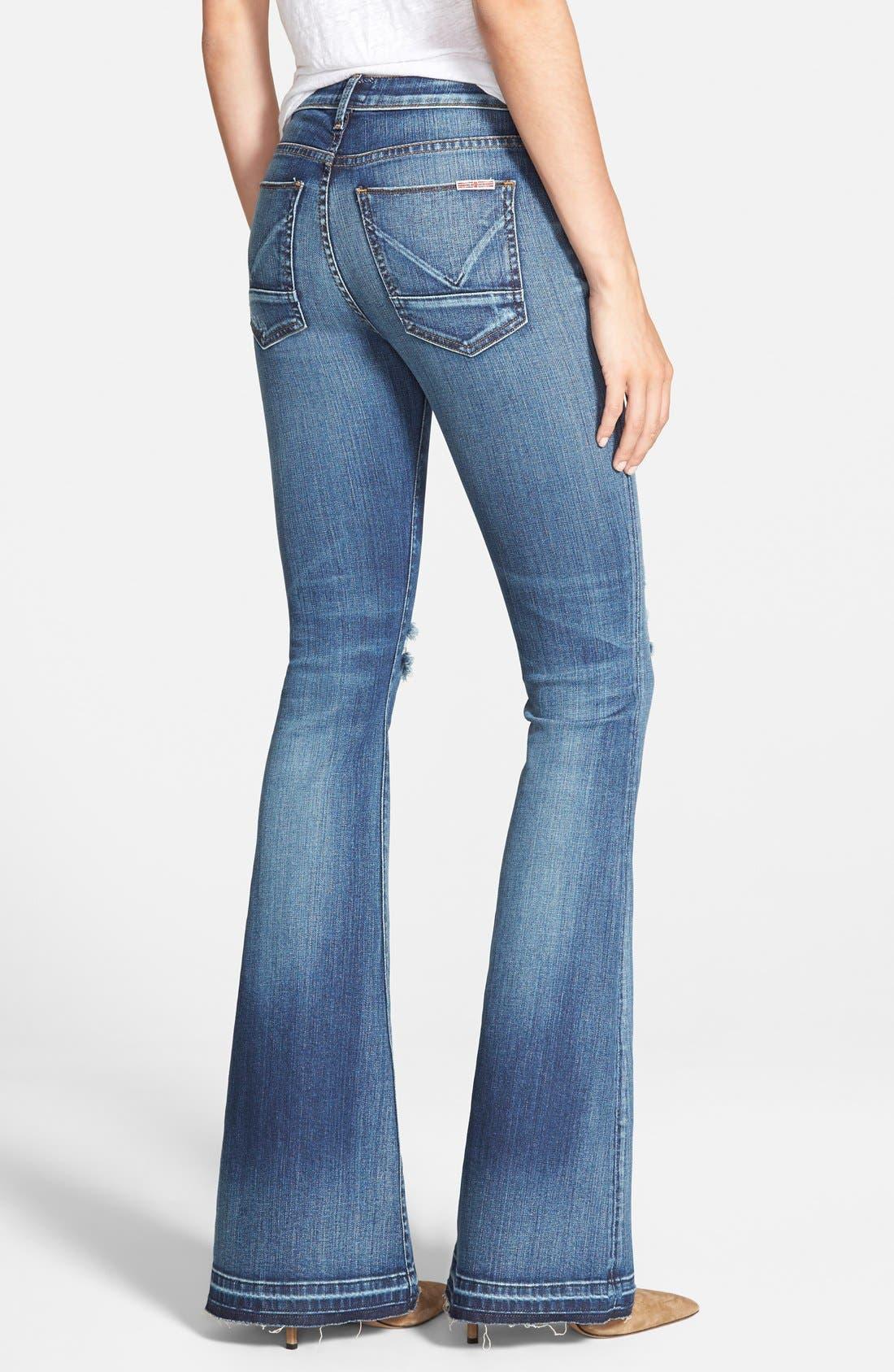 'Mia' Mid Rise Flare Jeans,                             Alternate thumbnail 3, color,                             423