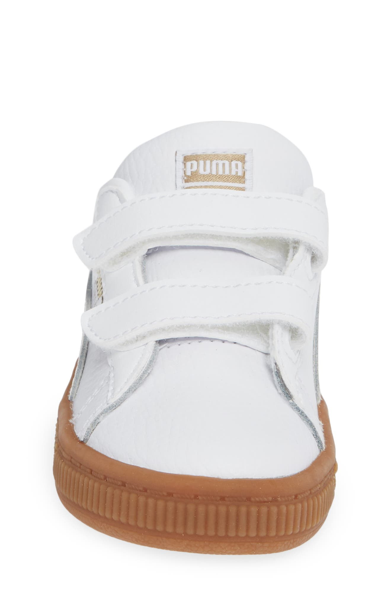 Basket Classic Gum Sneaker,                             Alternate thumbnail 4, color,                             WHITE/ METALLIC GOLD