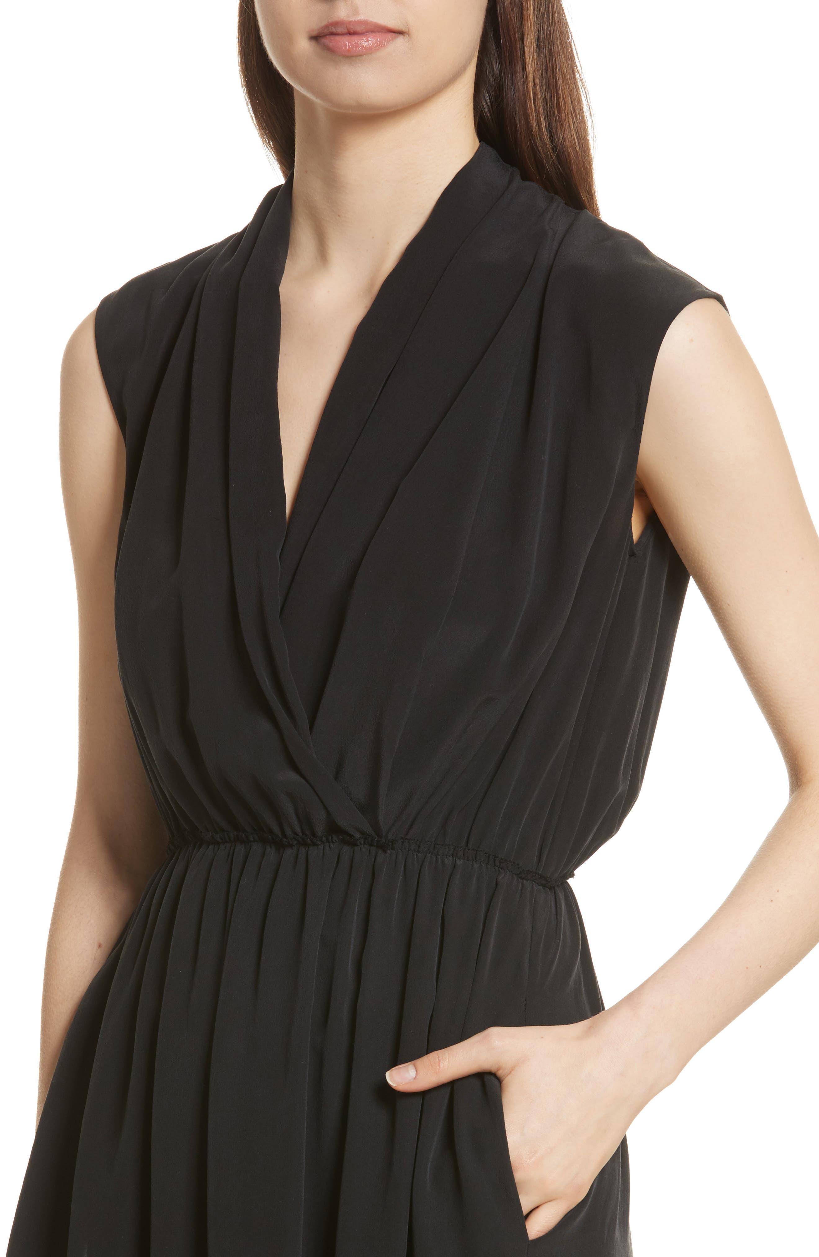 VINCE,                             Draped Silk Cross Front Dress,                             Alternate thumbnail 4, color,                             001