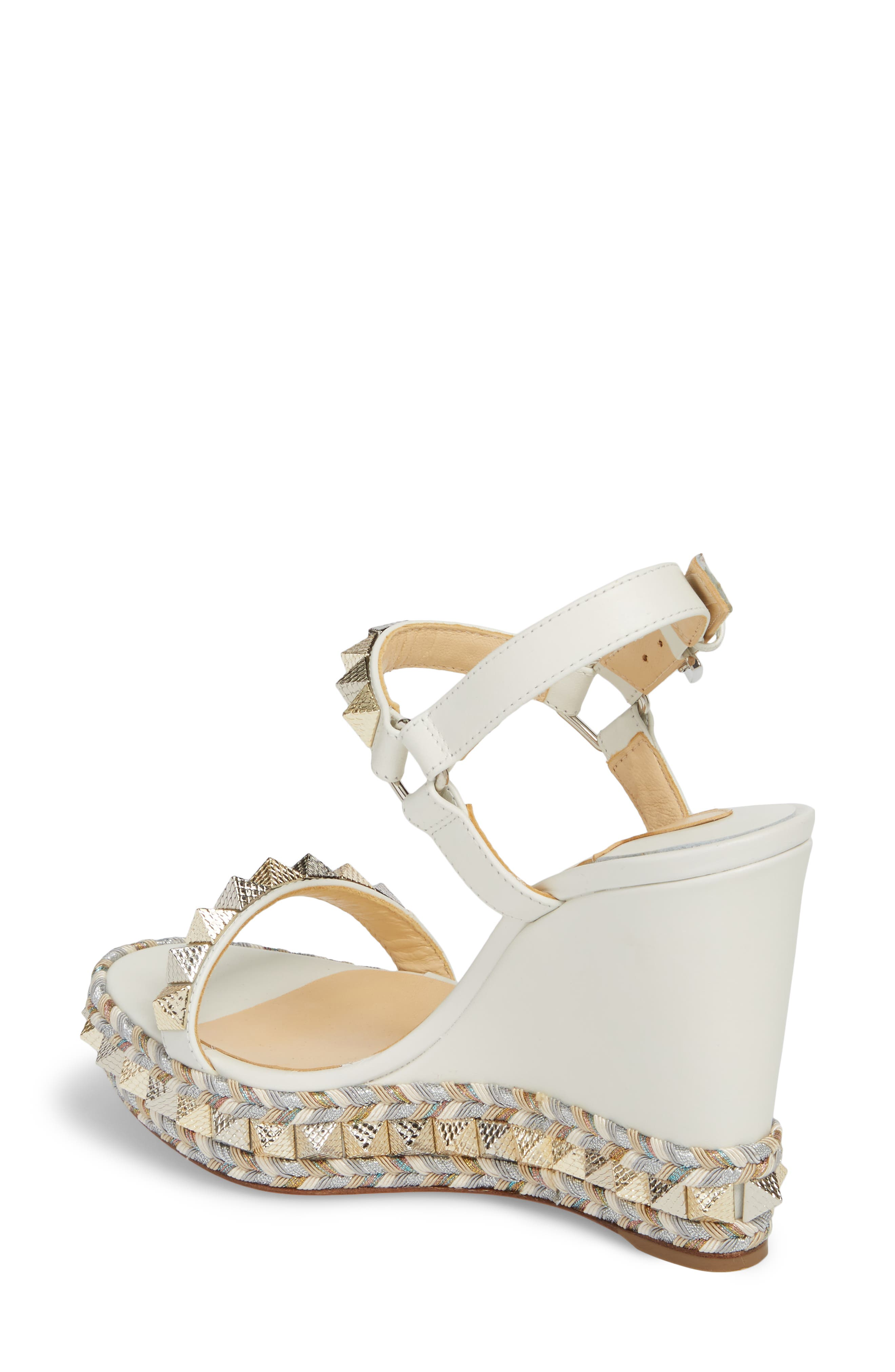 Pyraclou Wedge Sandal,                             Alternate thumbnail 2, color,                             LATTE WHITE