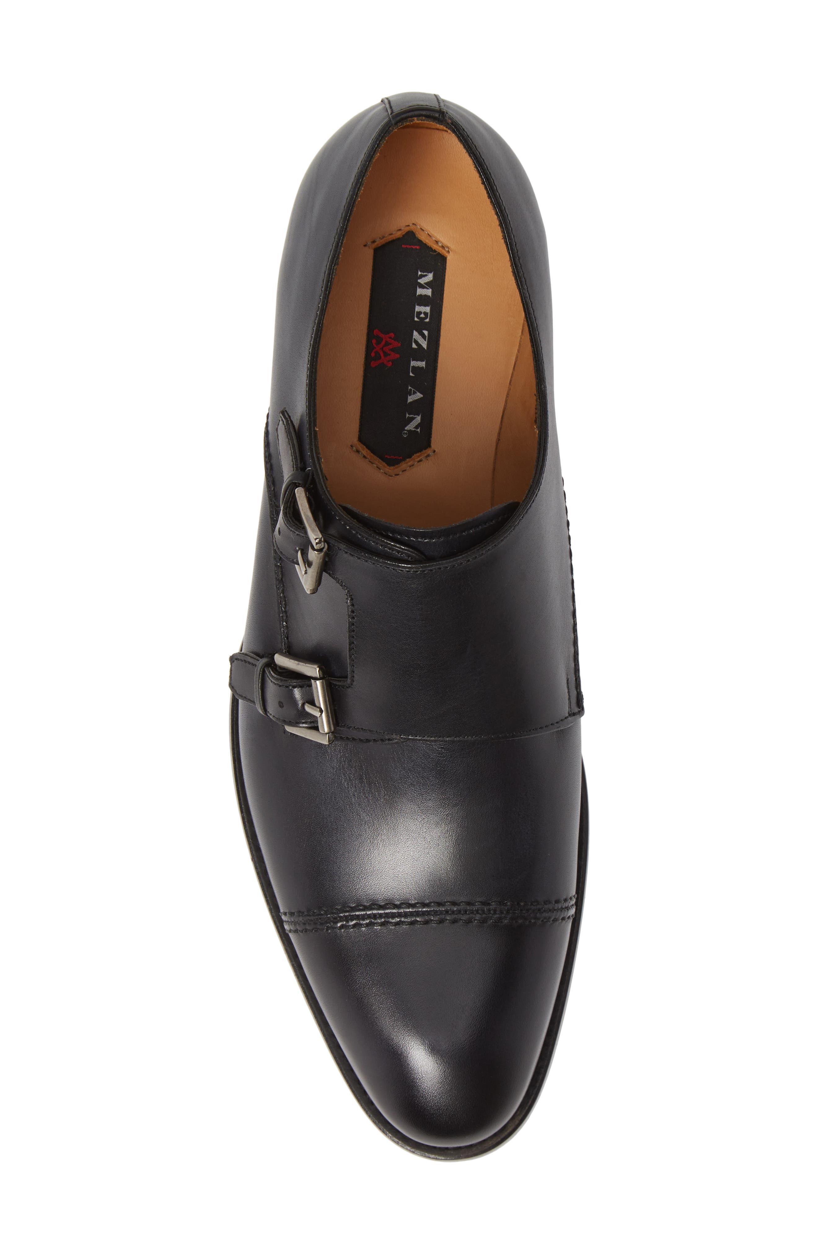 Acosta Double Strap Cap Toe Monk Shoe,                             Alternate thumbnail 5, color,                             BLACK LEATHER
