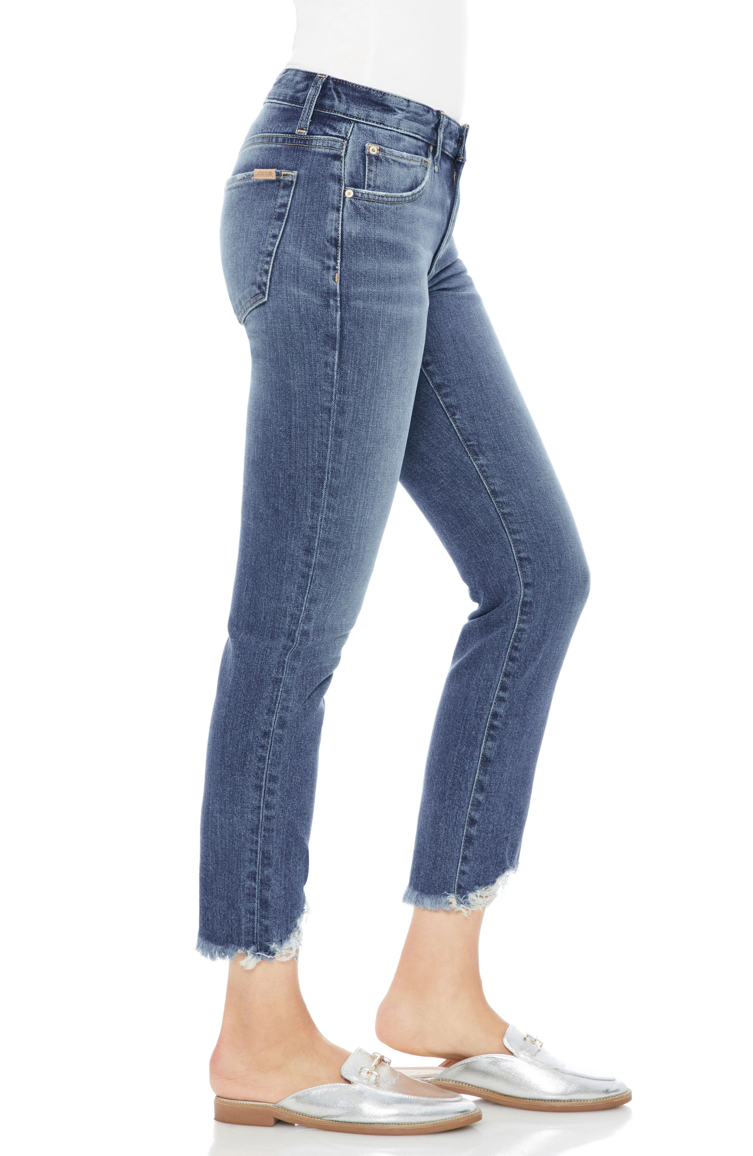 Smith Distressed Crop Straight Leg Jeans,                             Alternate thumbnail 3, color,                             SKYLER