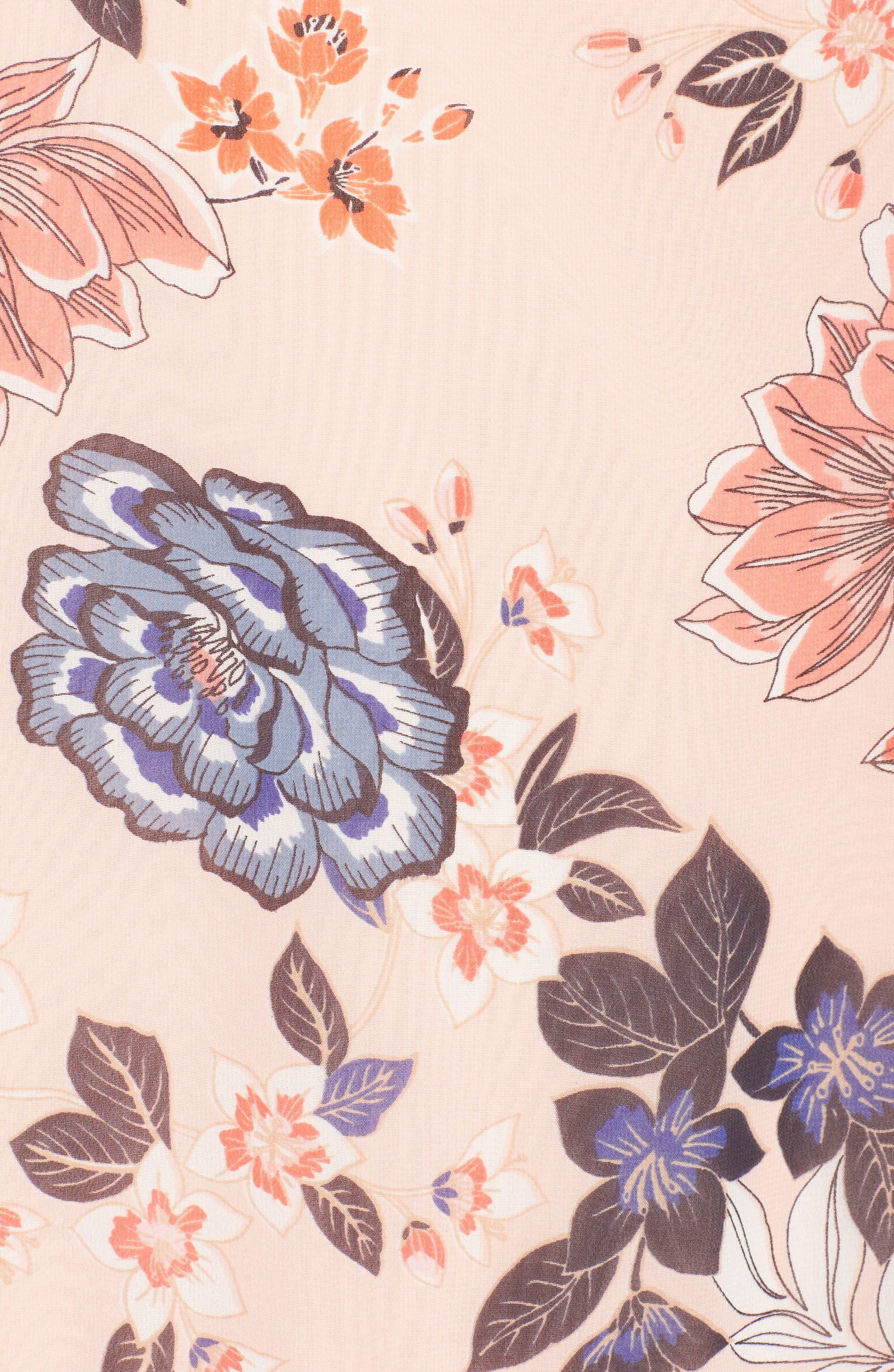 Floral Ruffle Neck Chiffon Shift Dress,                             Alternate thumbnail 6, color,                             BLUSH