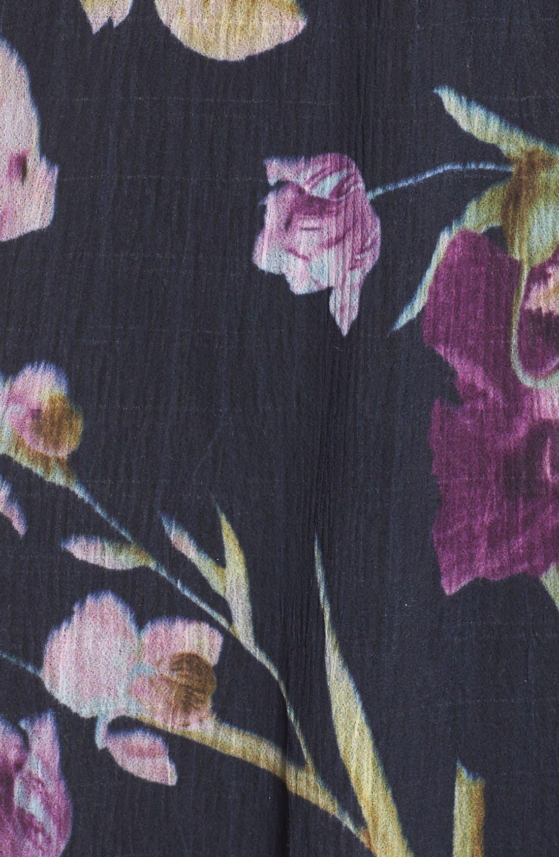 Floral Print Chiffon A-Line Dress,                             Alternate thumbnail 4, color,                             009