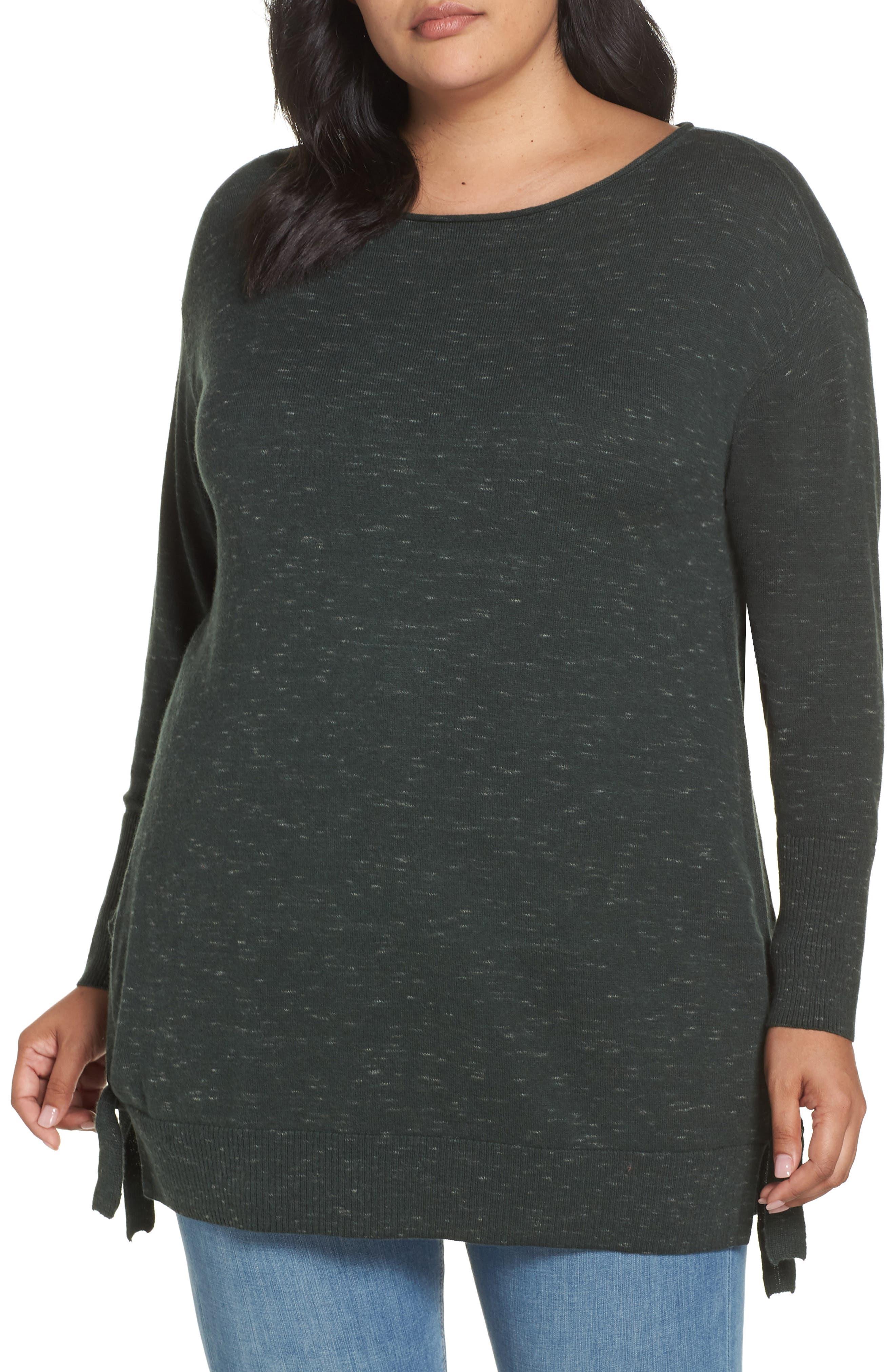 Plus Size Caslon Side Tie Detail Cotton & Wool Sweater, Green