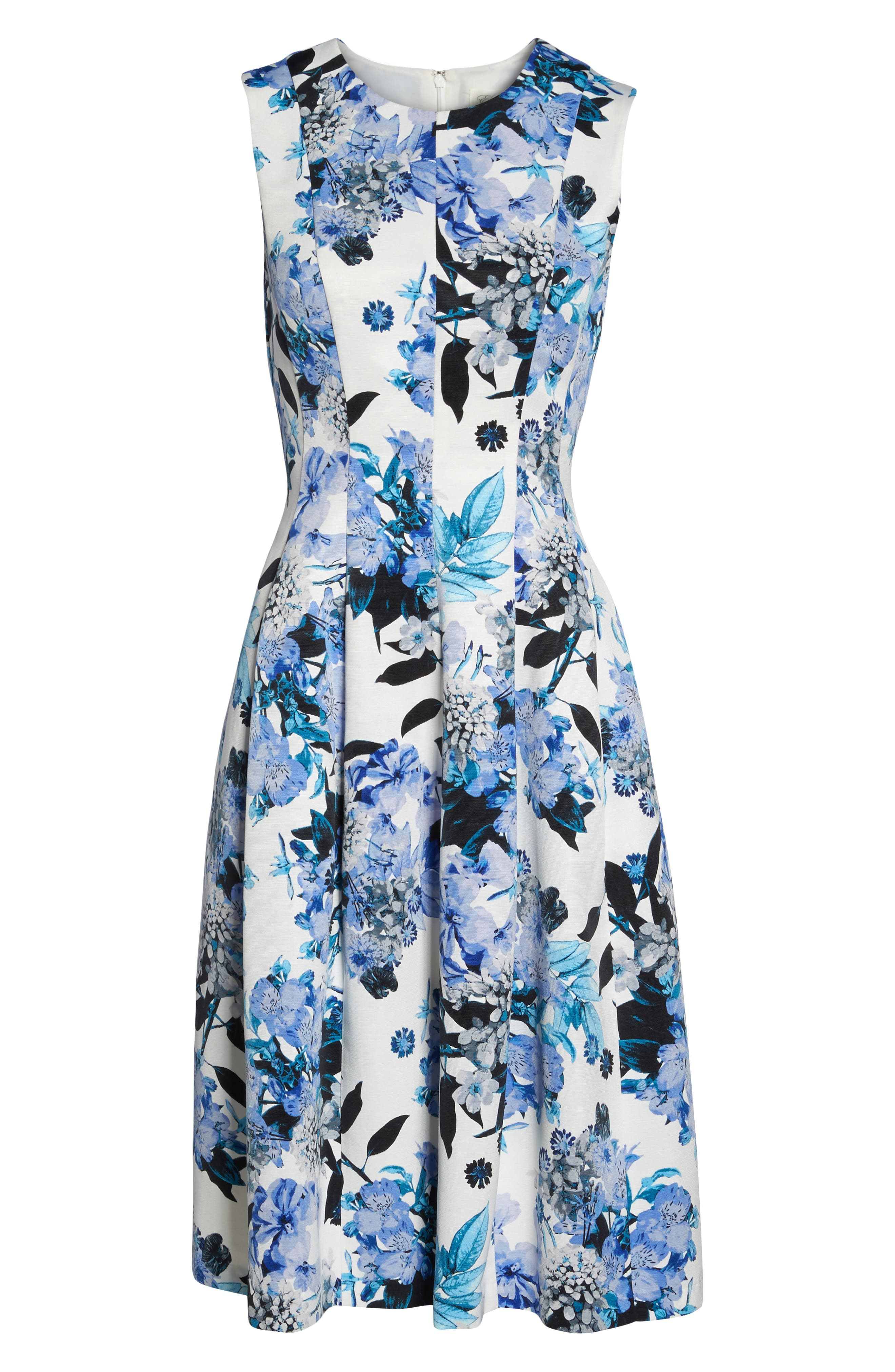 Floral Fit & Flare Dress,                             Alternate thumbnail 6, color,                             421