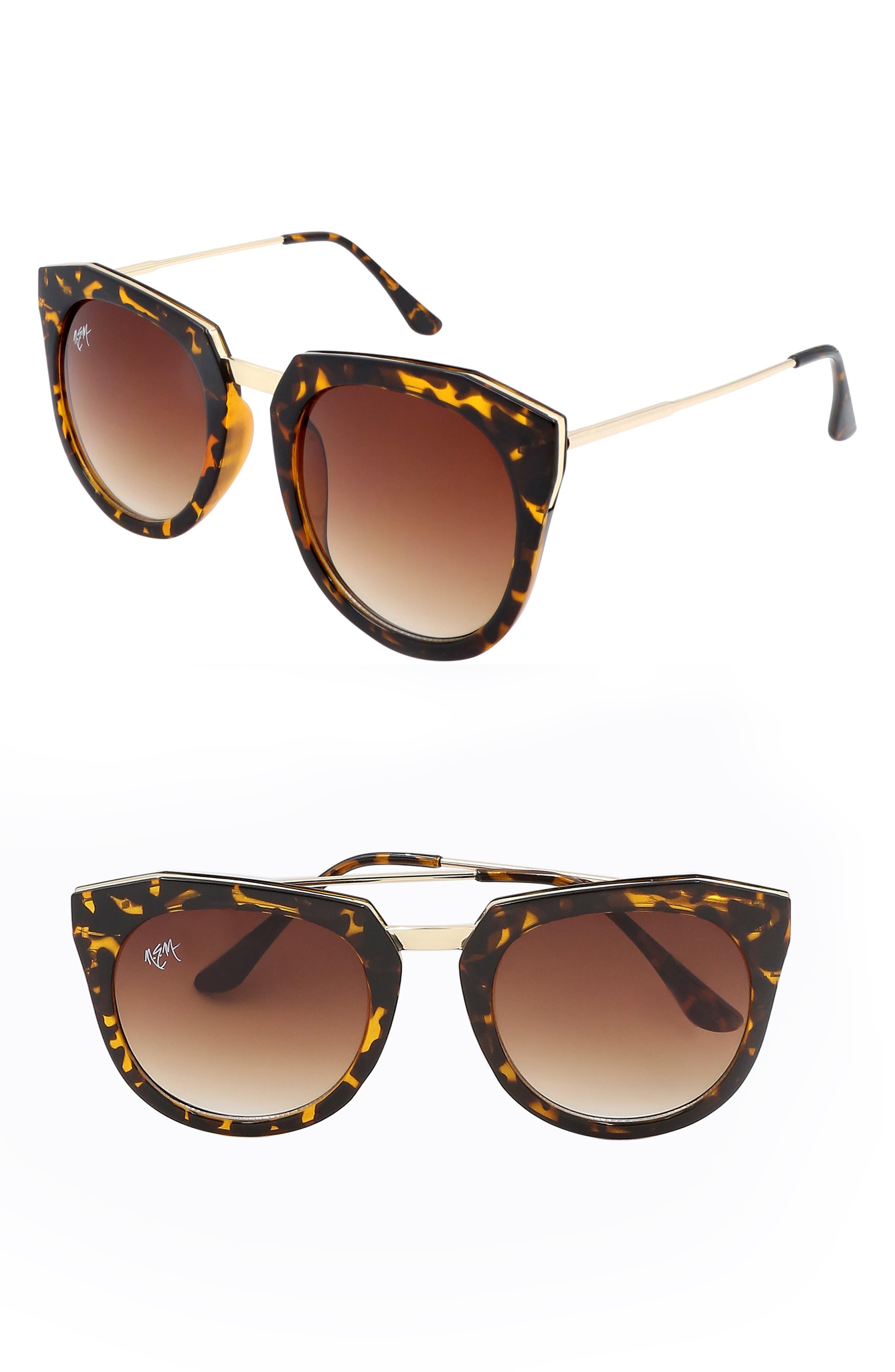 Nem Haute Line 55Mm Angular Sunglasses - Clear Brown W Amber Lens