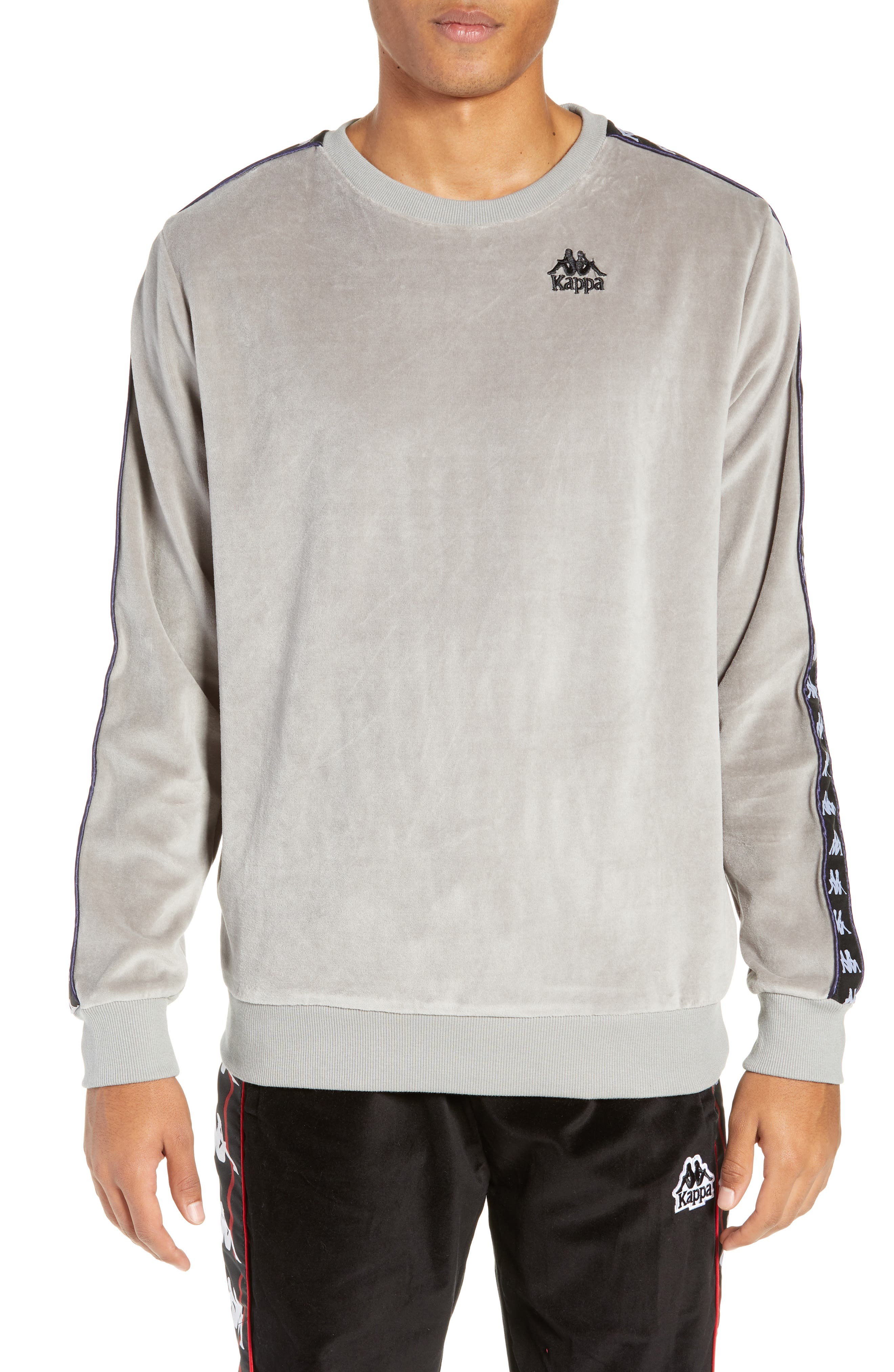 Authentic Aynset Velour Crewneck Sweatshirt,                             Main thumbnail 1, color,                             GREY MIST/ BLACK/ WHITE