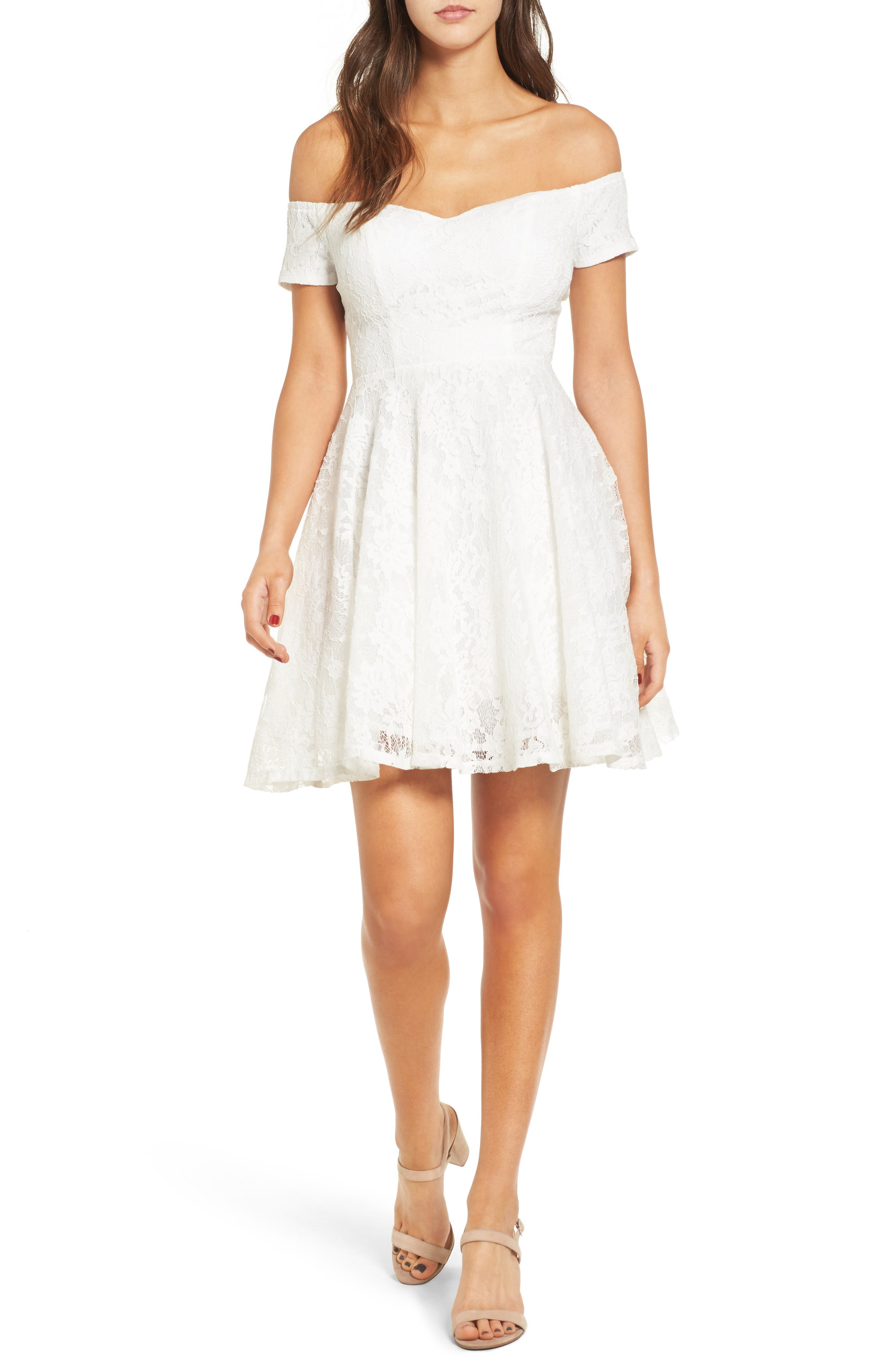 Lace Off the Shoulder Fit & Flare Dress,                             Main thumbnail 7, color,