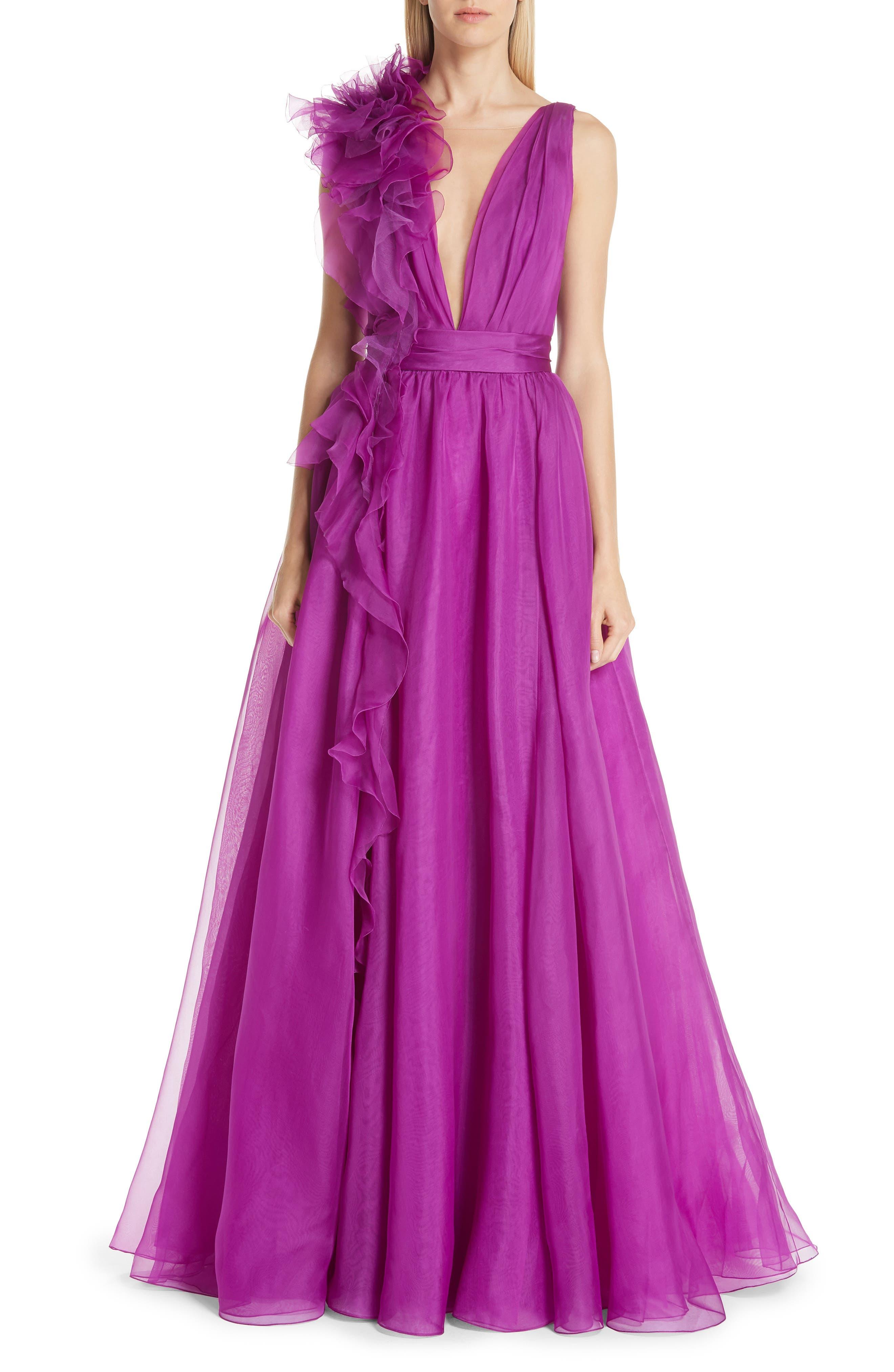 Marchesa Ruffle Silk Organza Evening Dress, Purple