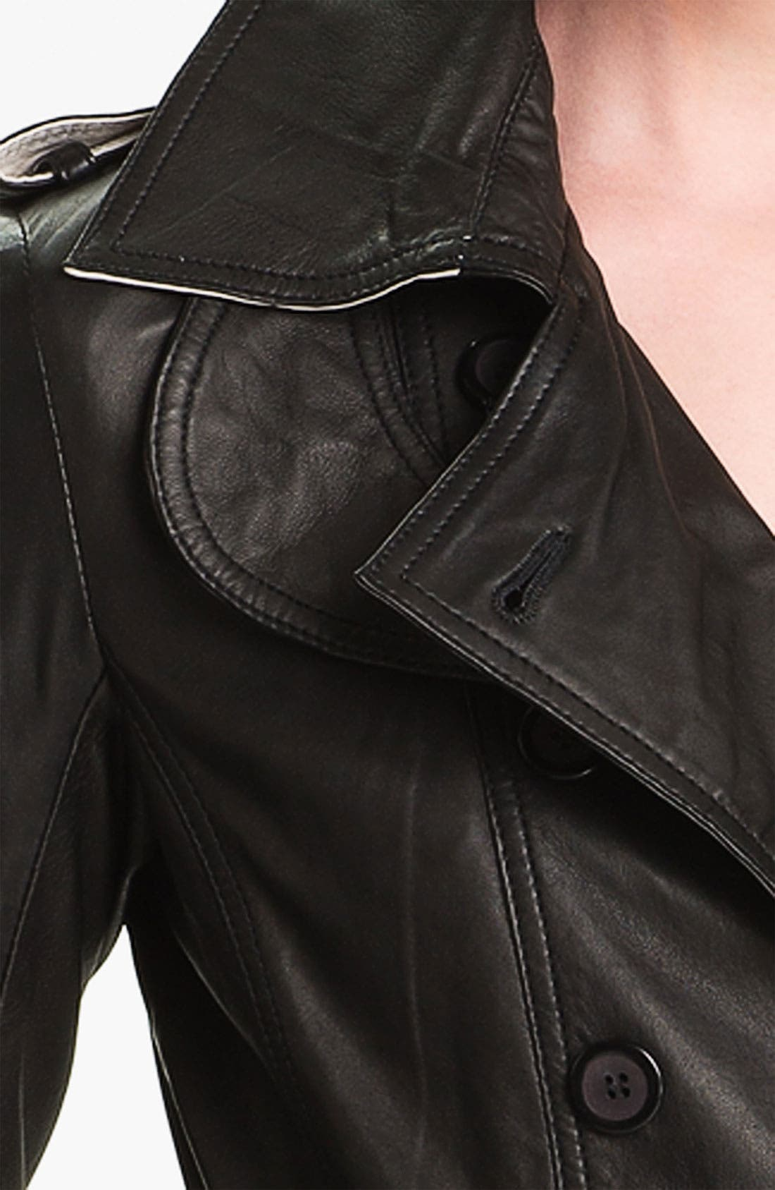 Double Breasted Leather Trench Coat,                             Alternate thumbnail 3, color,                             001