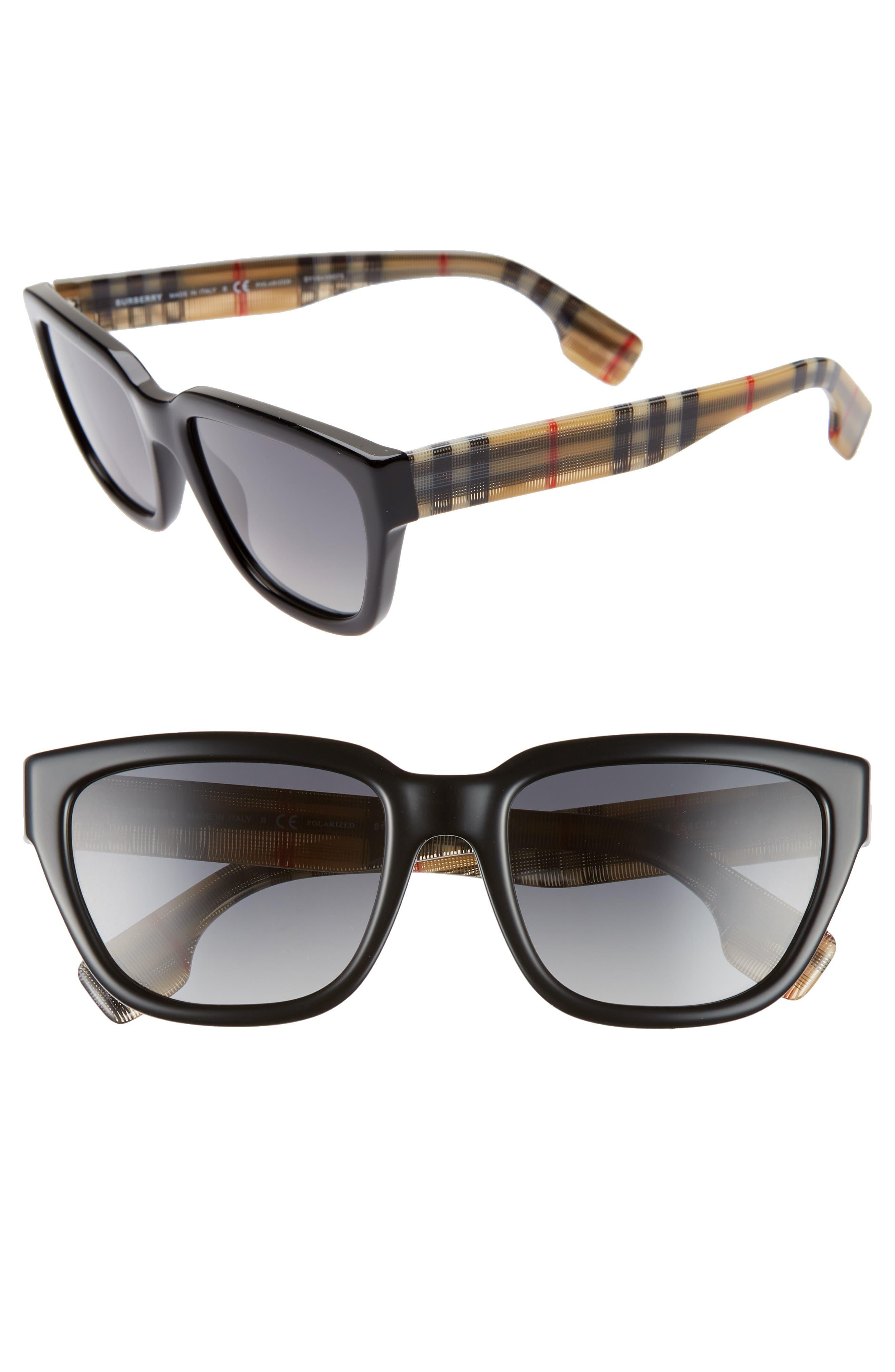 54mm Polarized Gradient Square Sunglasses,                             Main thumbnail 1, color,                             BLACK/ BLACK GRADIENT