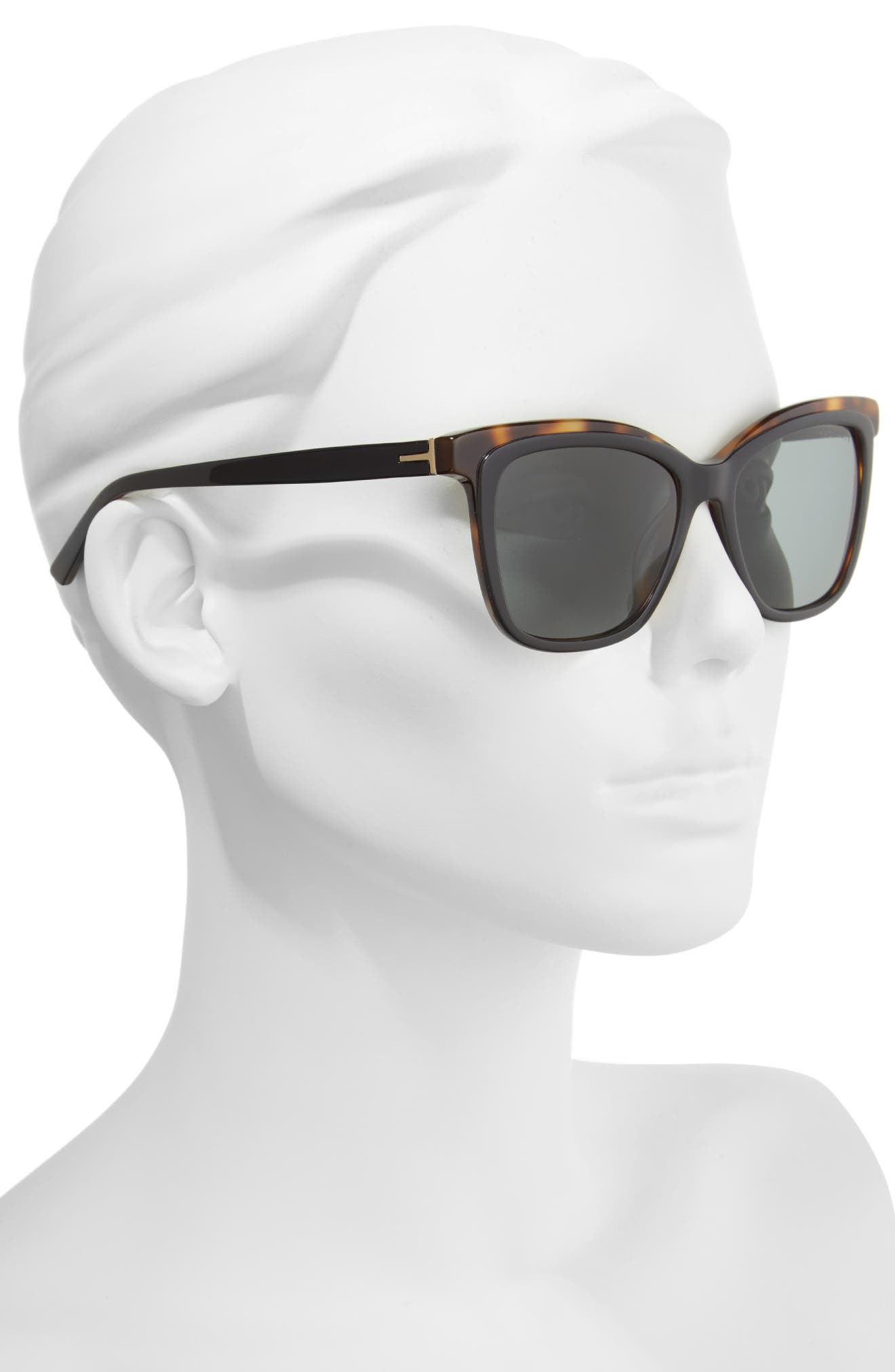 54mm Polarized Cat Eye Sunglasses,                             Alternate thumbnail 2, color,                             002