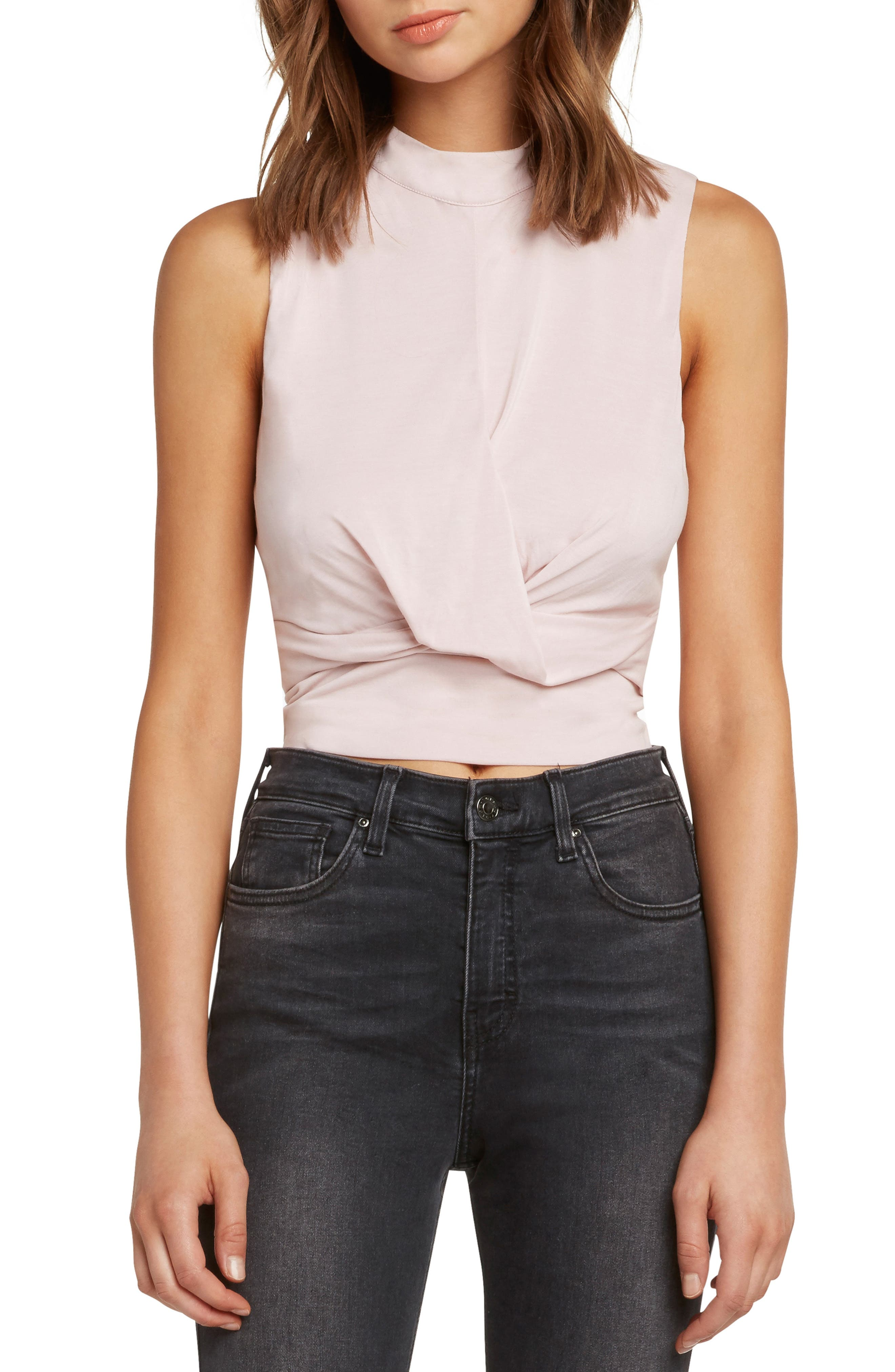 Twist Front Sleeveless Crop Top,                             Main thumbnail 1, color,                             LIGHT PINK