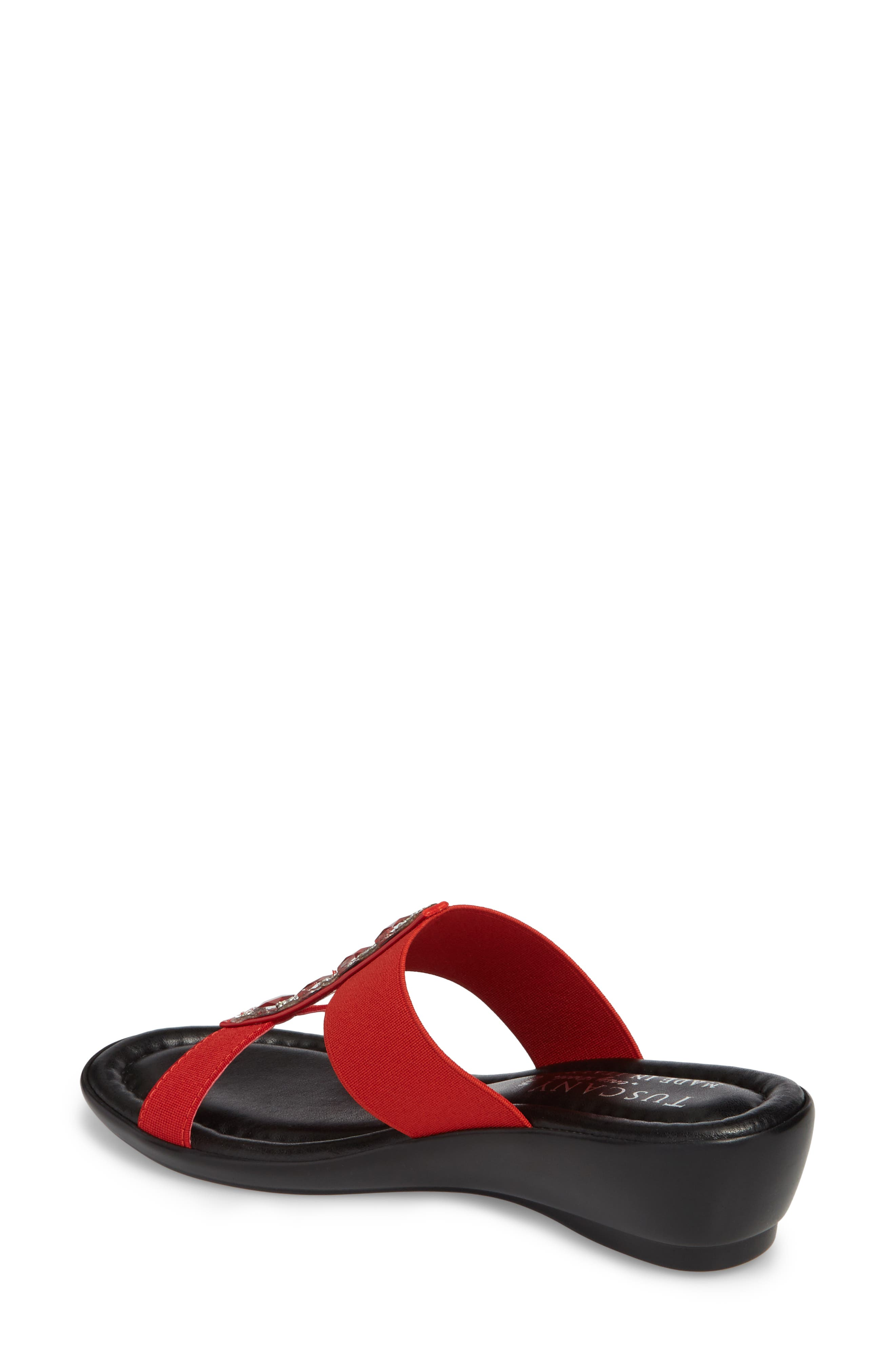 by Easy Street<sup>®</sup> Elba Embellished Slide Sandal,                             Alternate thumbnail 2, color,                             RED STRETCH FAUX LEATHER