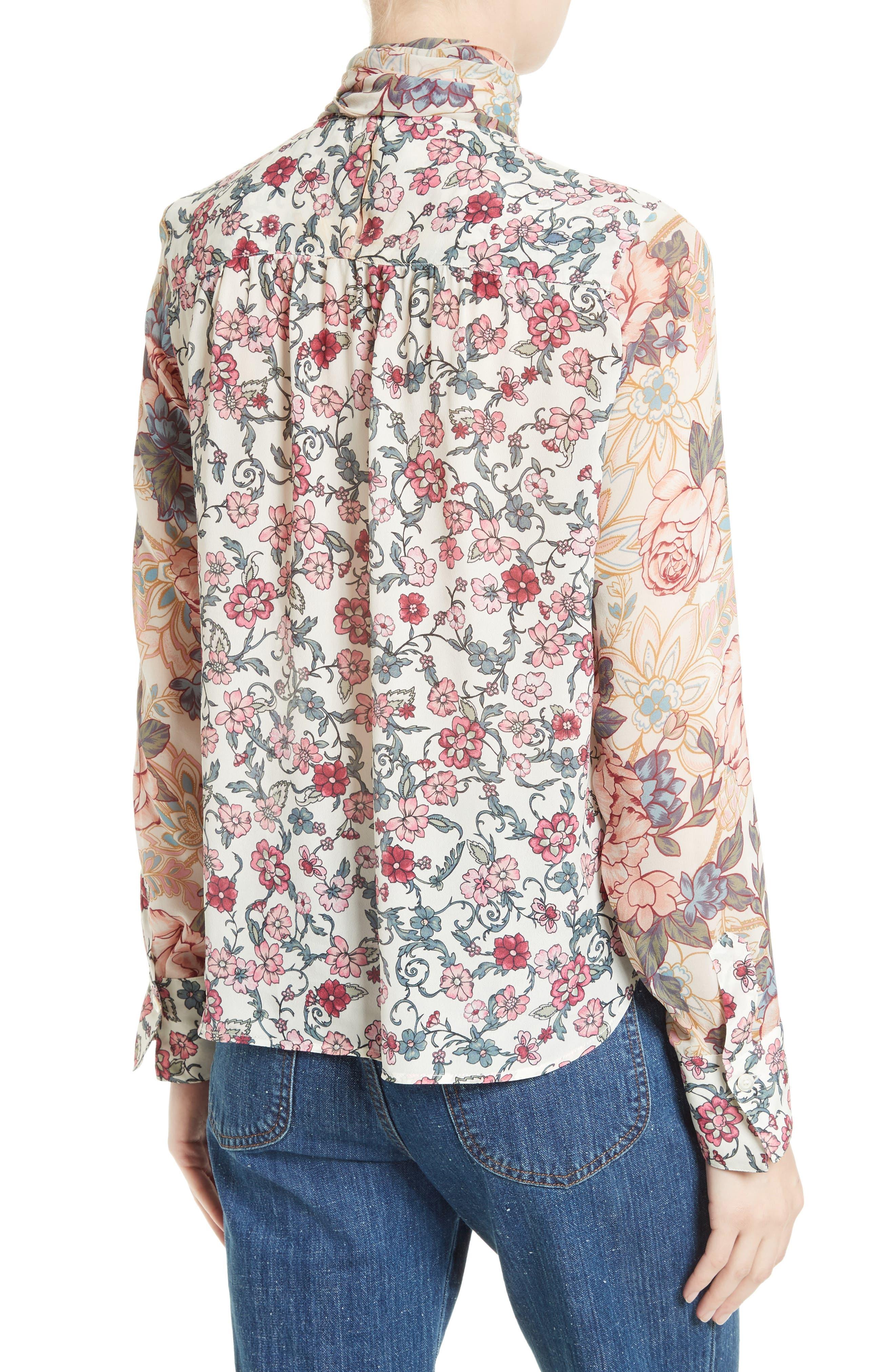 Floral Tie Neck Blouse,                             Alternate thumbnail 2, color,                             650