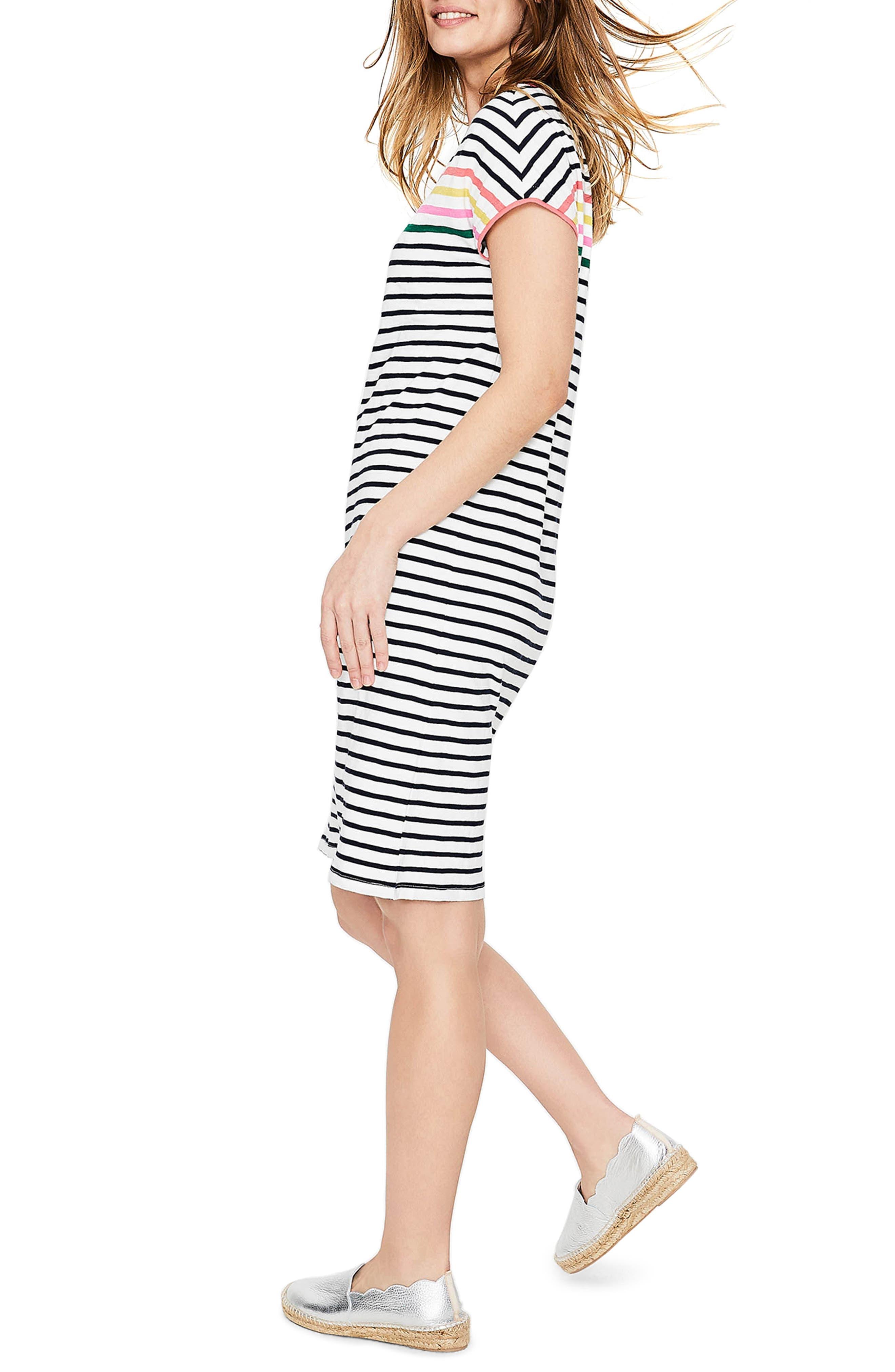 BODEN,                             Paulina Stripe T-Shirt Dress,                             Alternate thumbnail 3, color,                             186