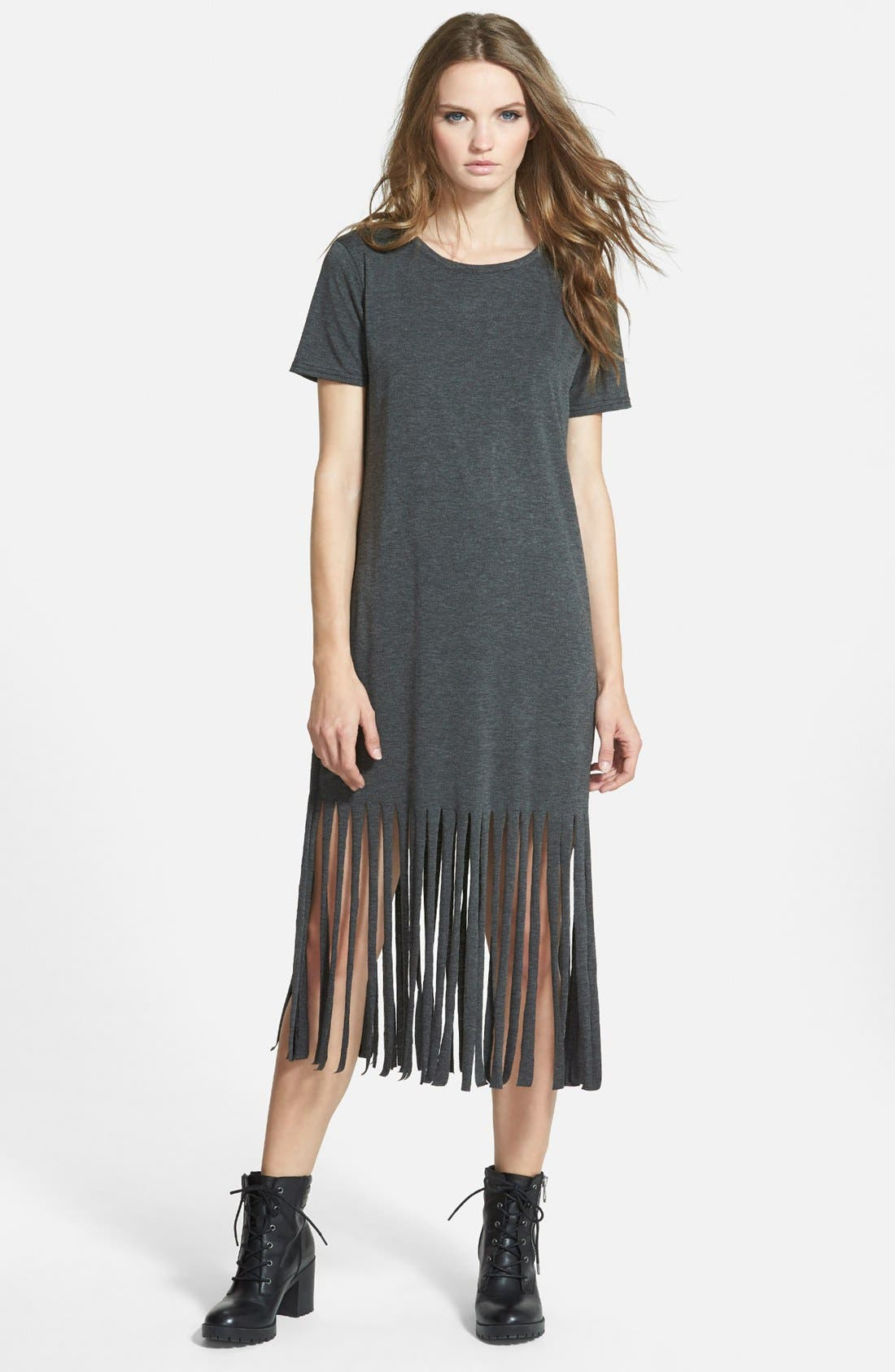 MISSGUIDED,                             Fringe T-Shirt Dress,                             Main thumbnail 1, color,                             021