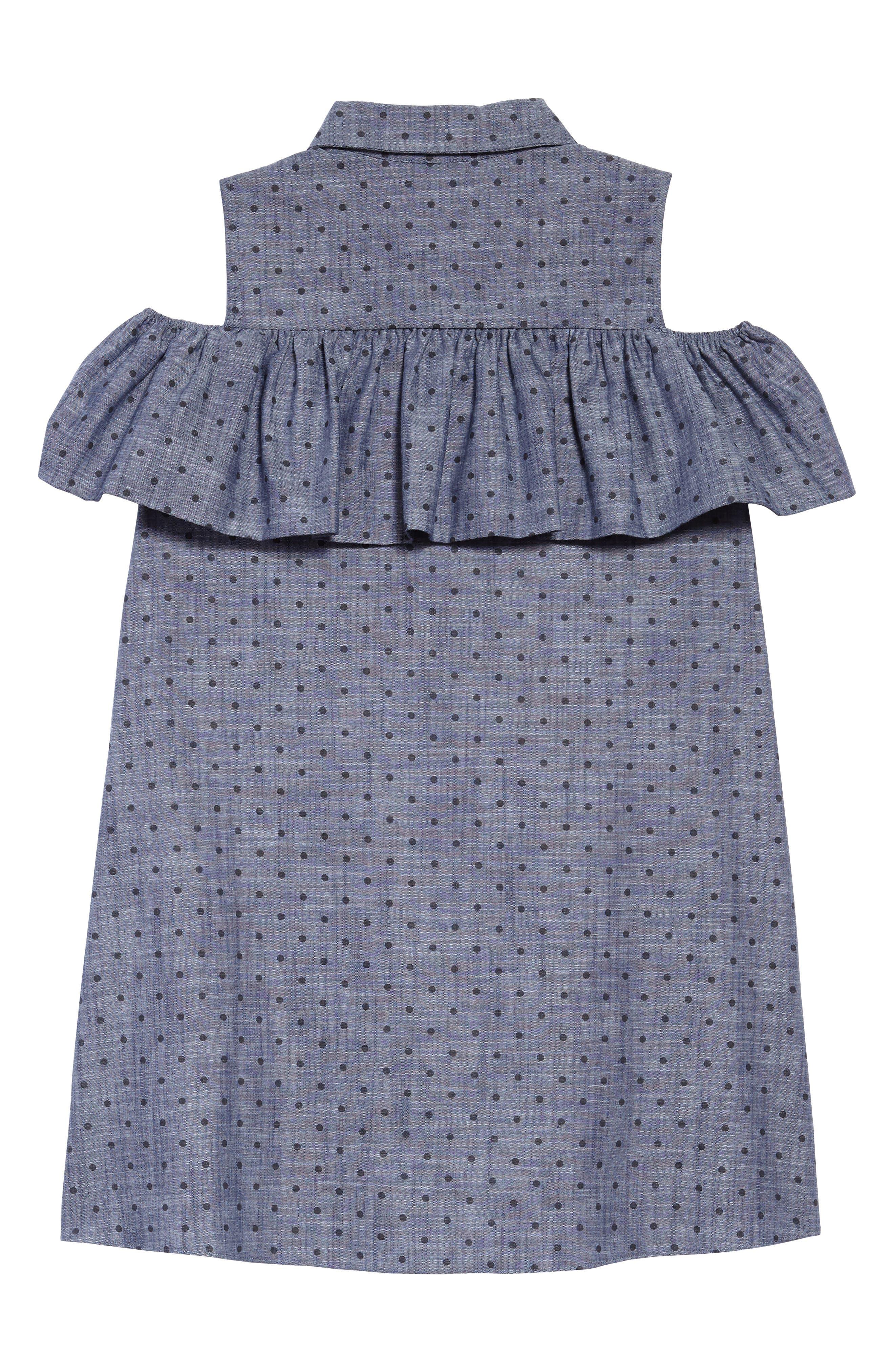 ruffle dot chambray dress,                             Alternate thumbnail 2, color,                             404