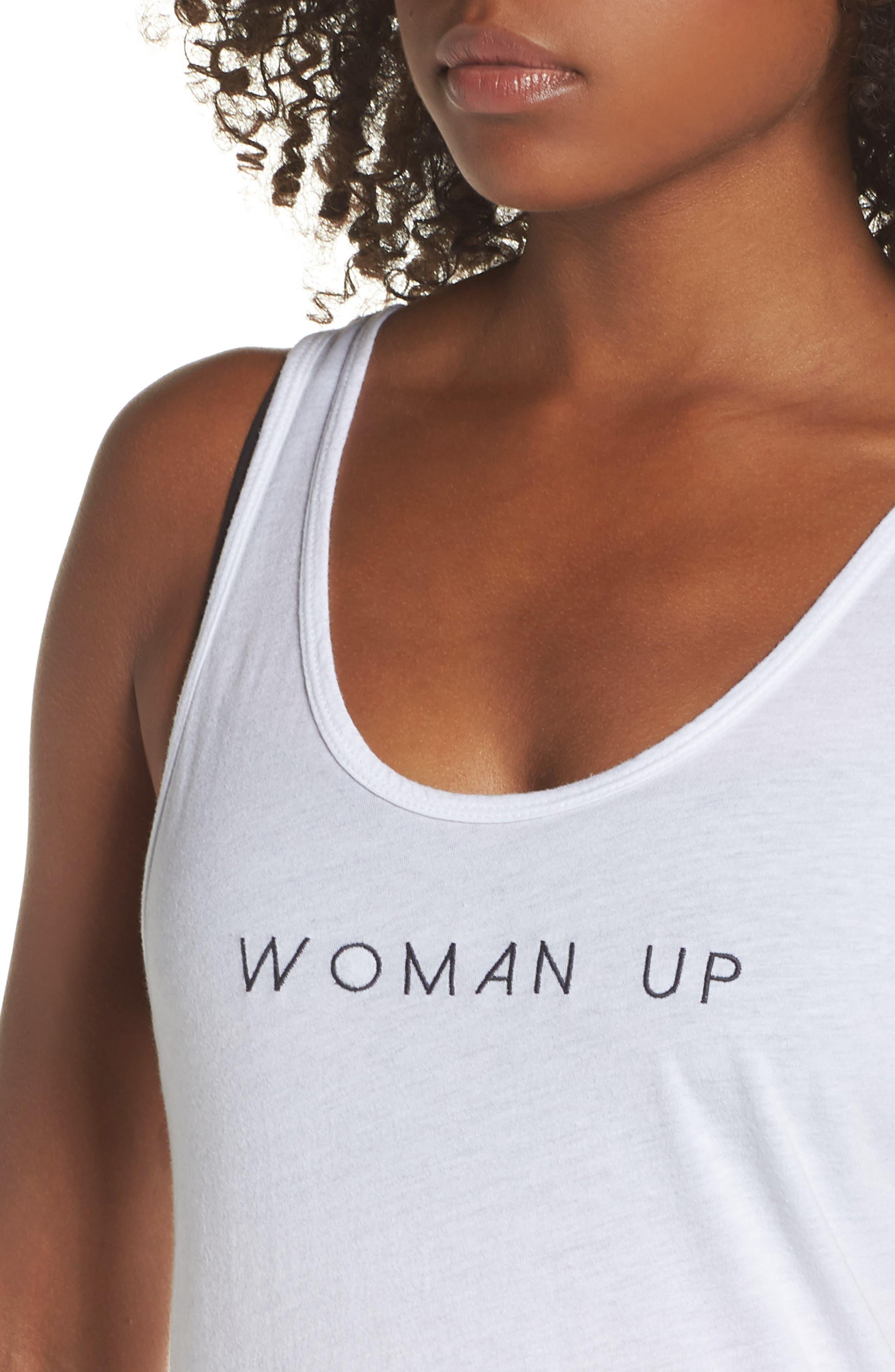 Woman Up Tank,                             Alternate thumbnail 4, color,                             OPTIC WHITE