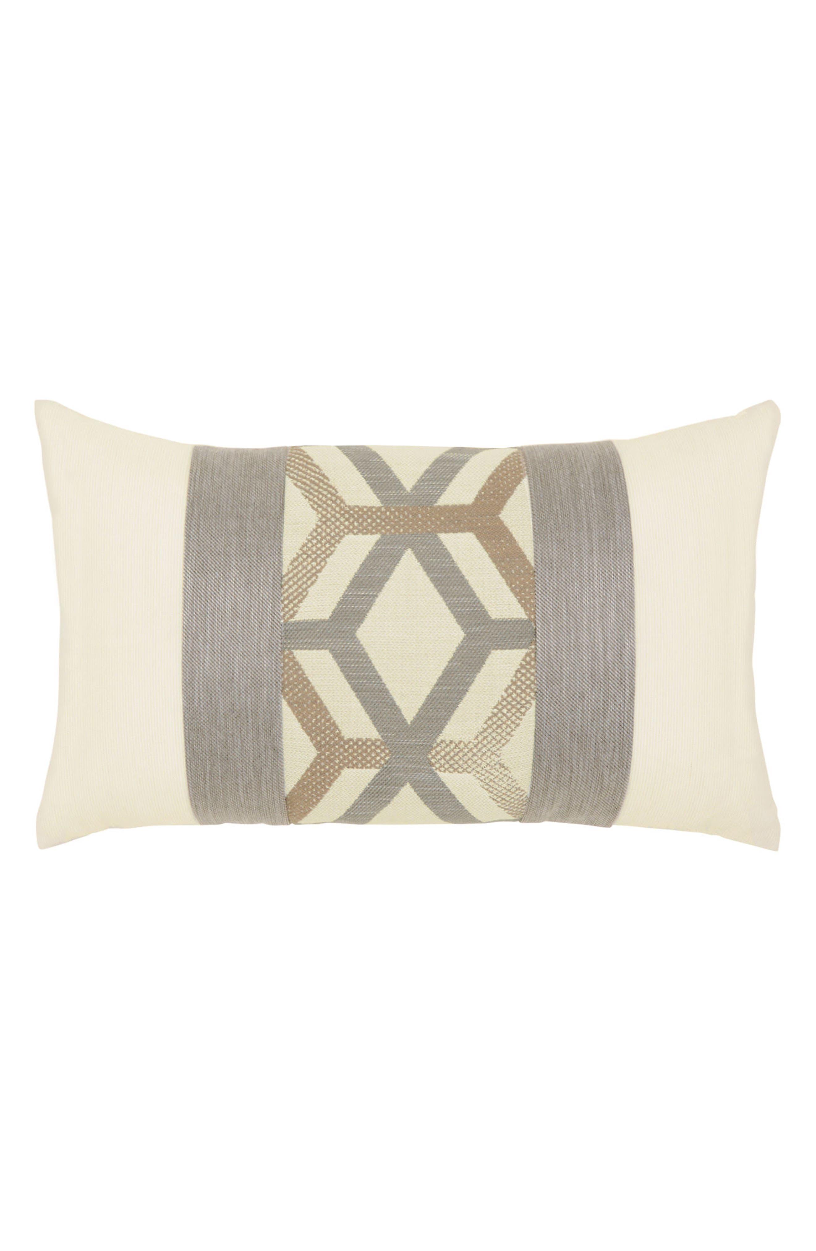 Lustrous Lines Lumbar Pillow,                         Main,                         color, IVORY/ GREY