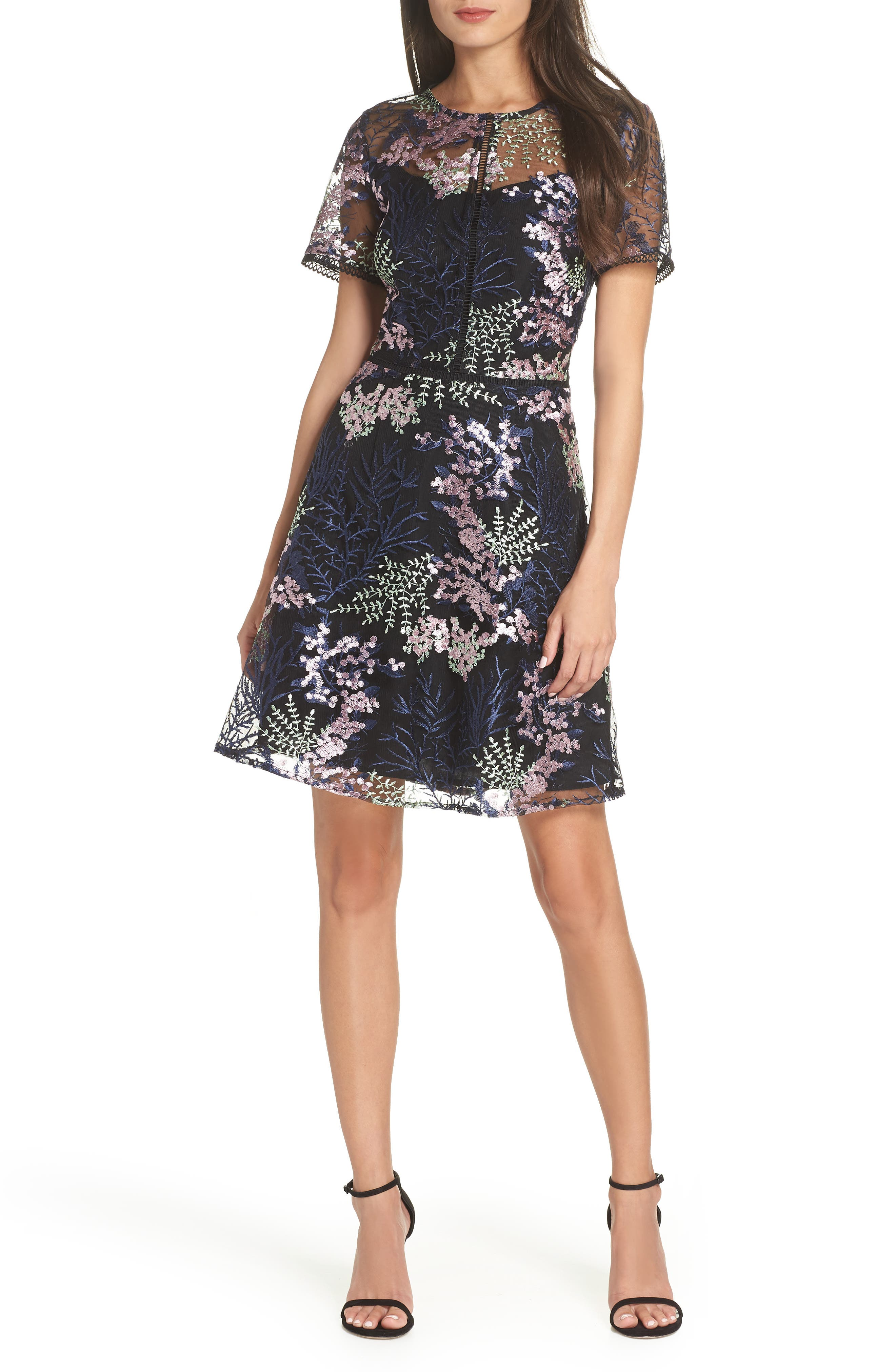 Embroidered Lace A-Line Dress,                             Main thumbnail 1, color,                             BLACK FLOWY FLORAL
