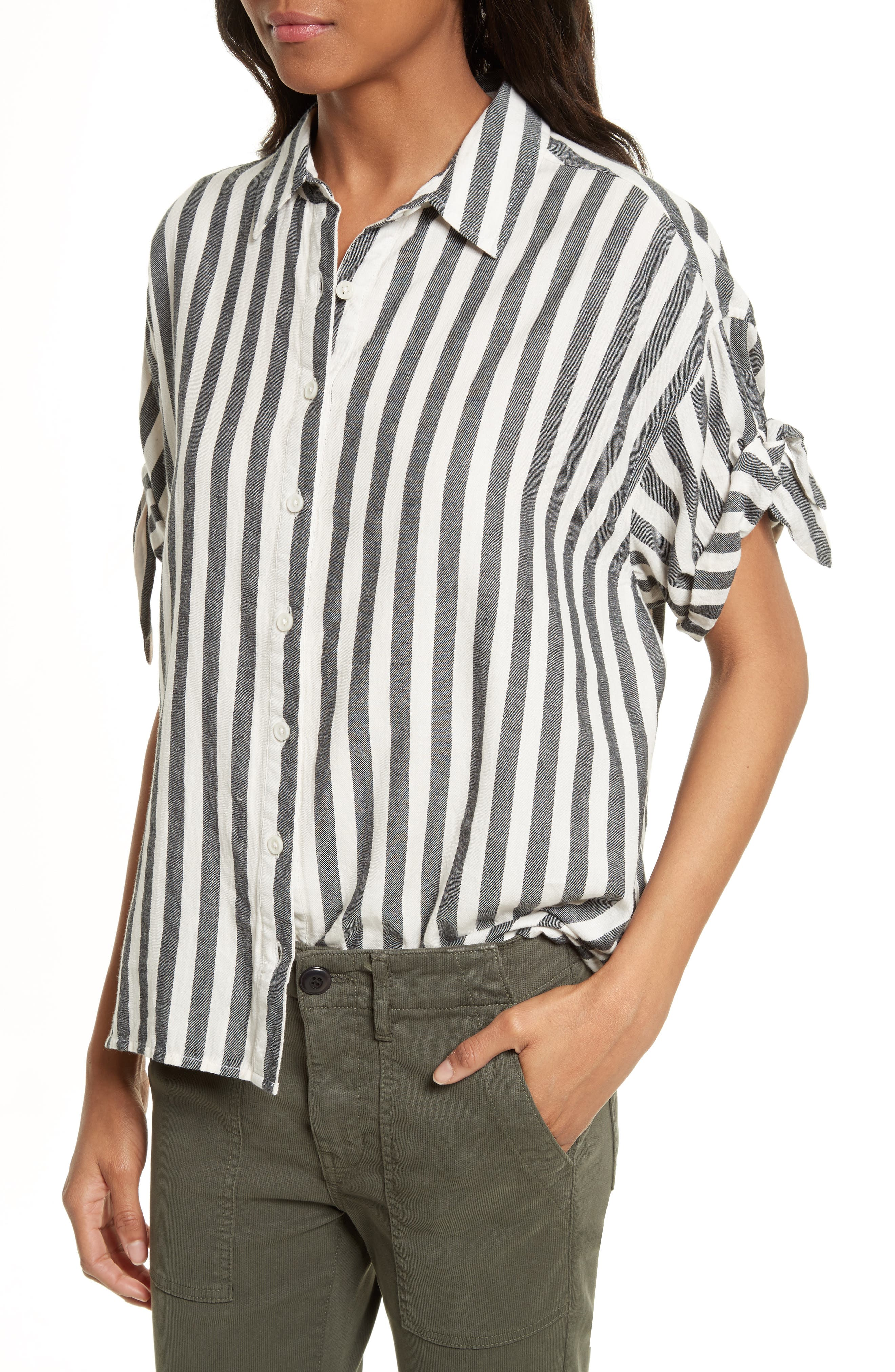 The Tie Sleeve Shirt,                             Alternate thumbnail 4, color,                             001