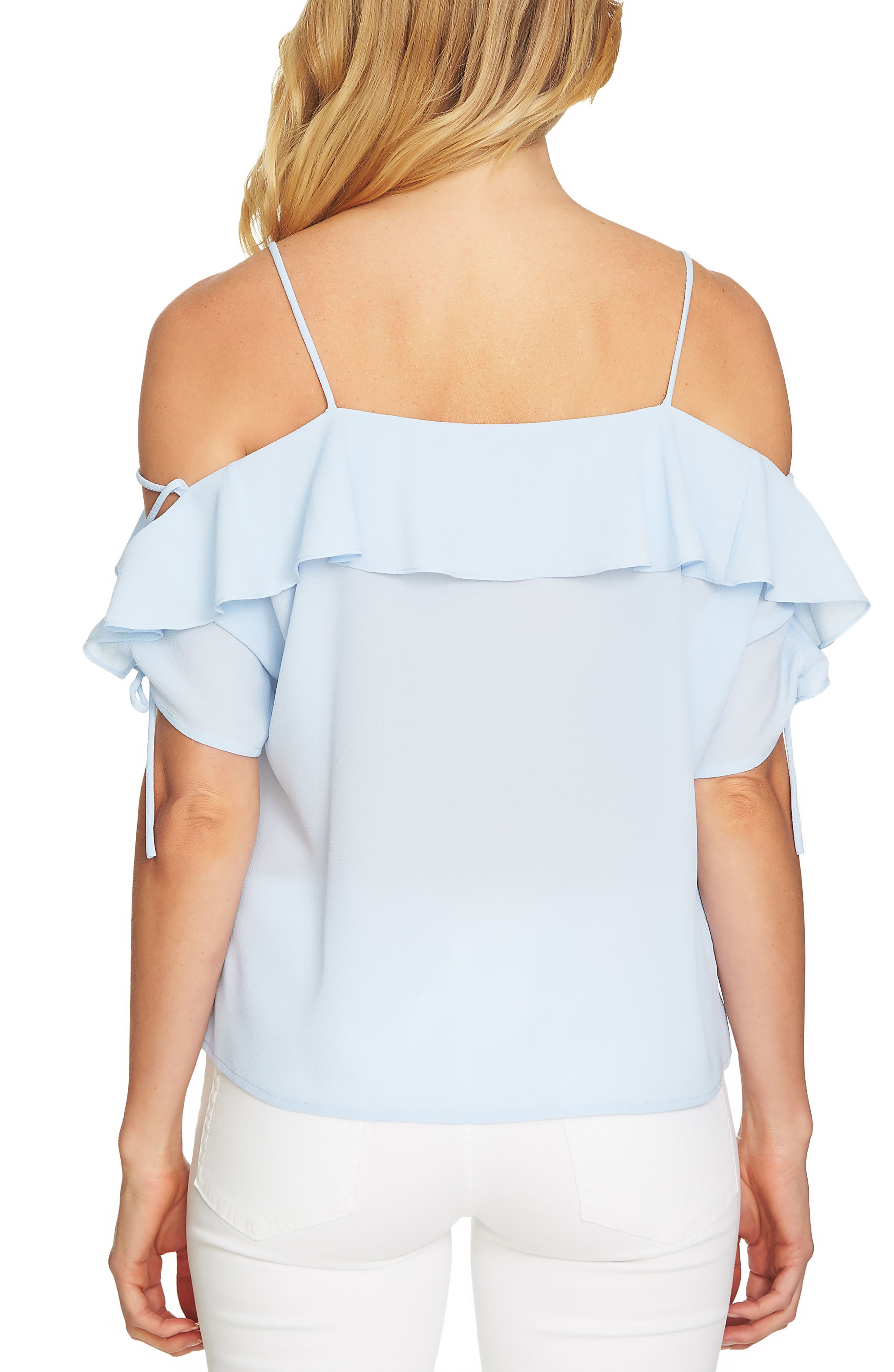 Cold Shoulder Ruffle Stretch Crepe Top,                             Alternate thumbnail 6, color,