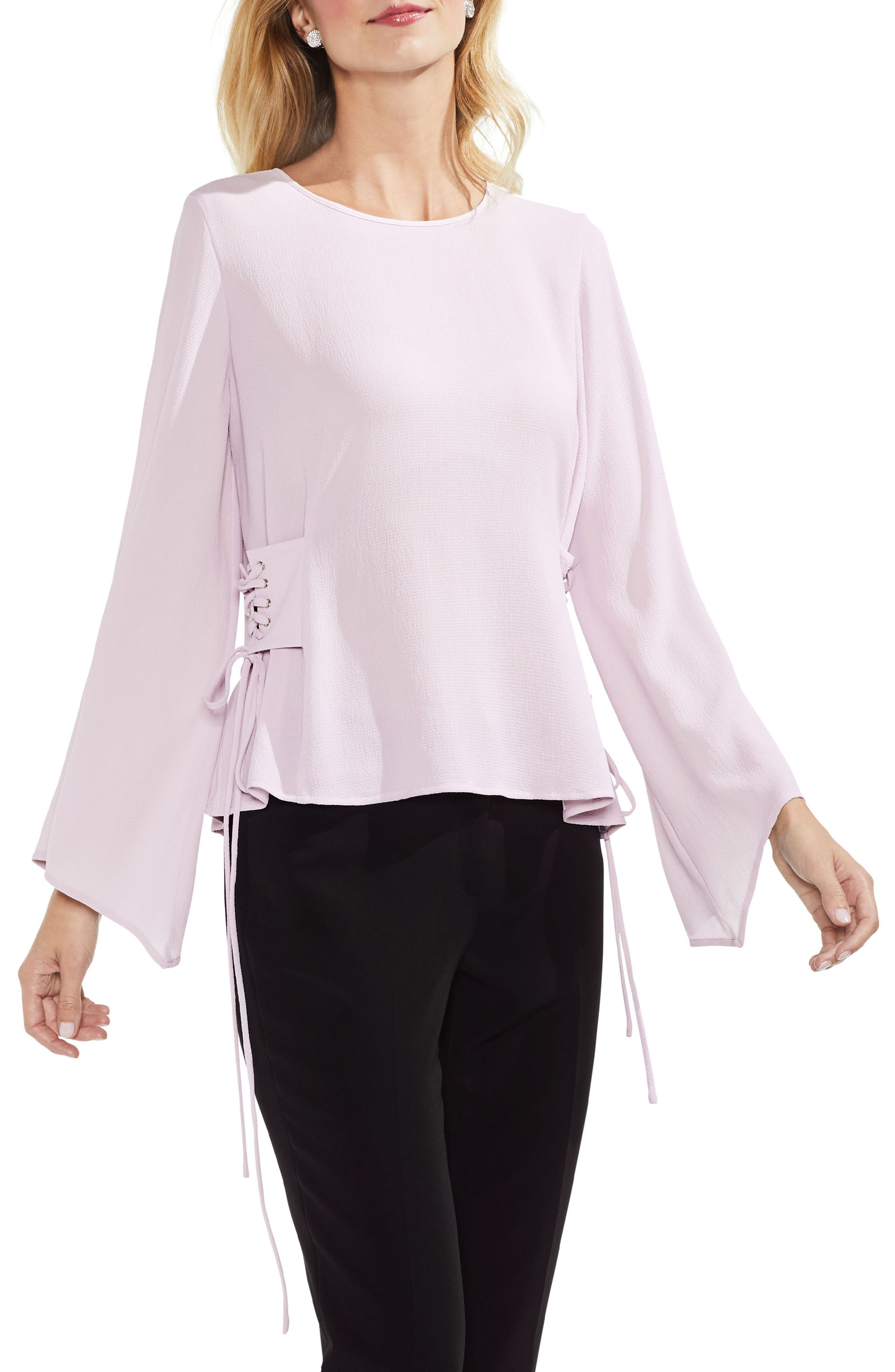 Lace-Up Bell Sleeve Blouse,                             Main thumbnail 3, color,