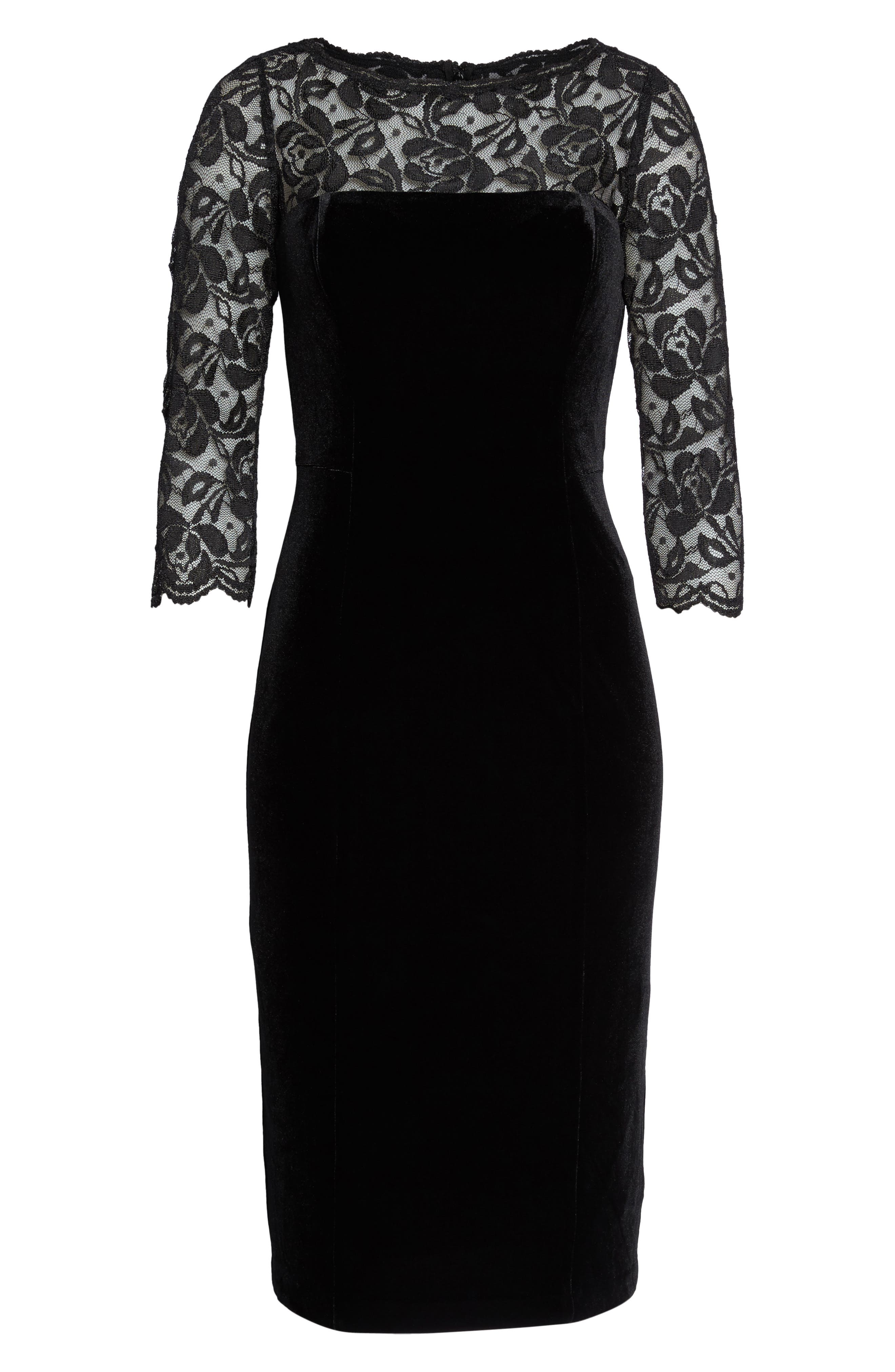 Lace & Velvet Sheath Dress,                             Alternate thumbnail 6, color,                             BLACK