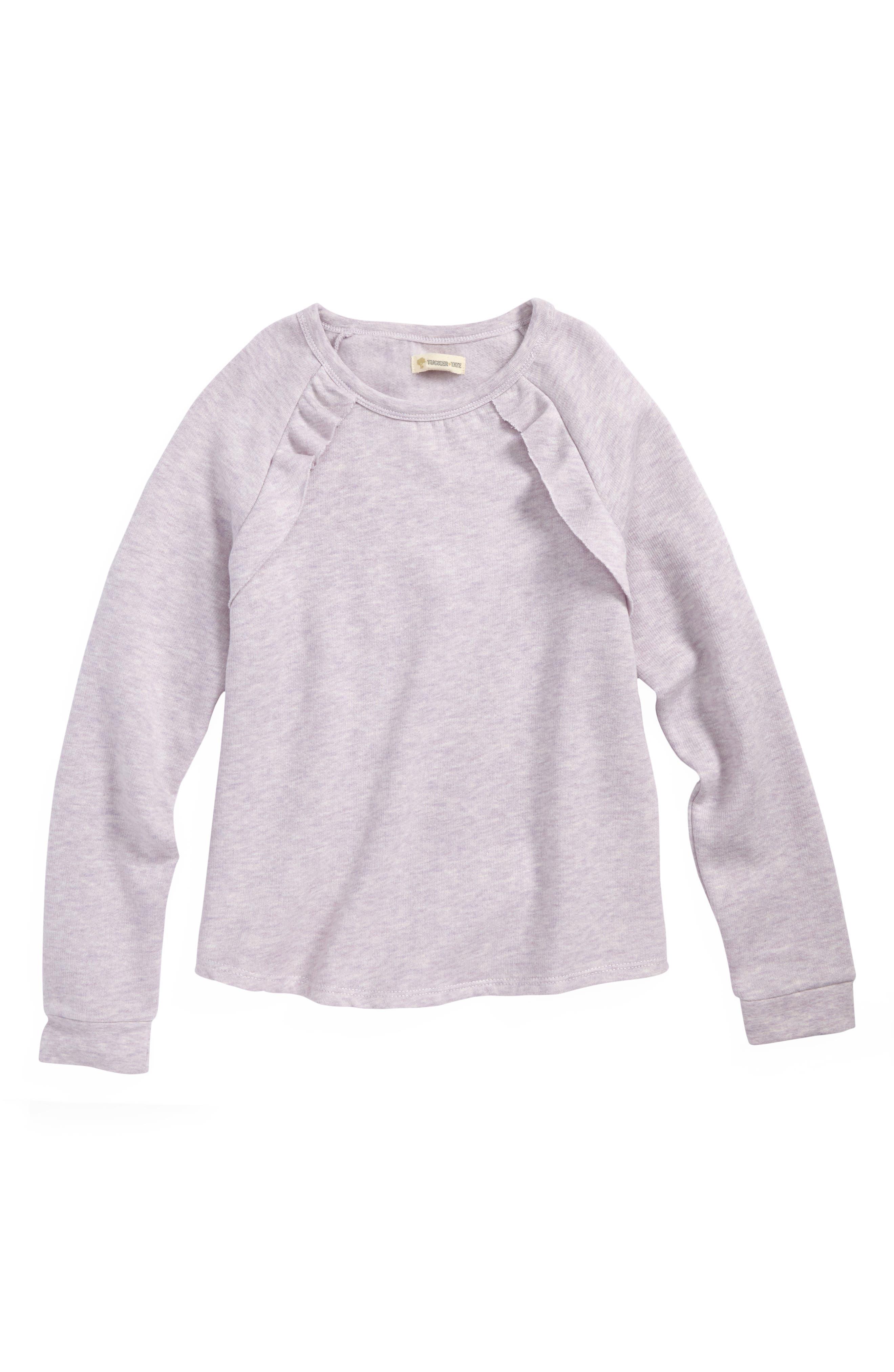Ruffle Fleece Sweatshirt,                             Main thumbnail 1, color,                             PURPLE PETAL HEATHER