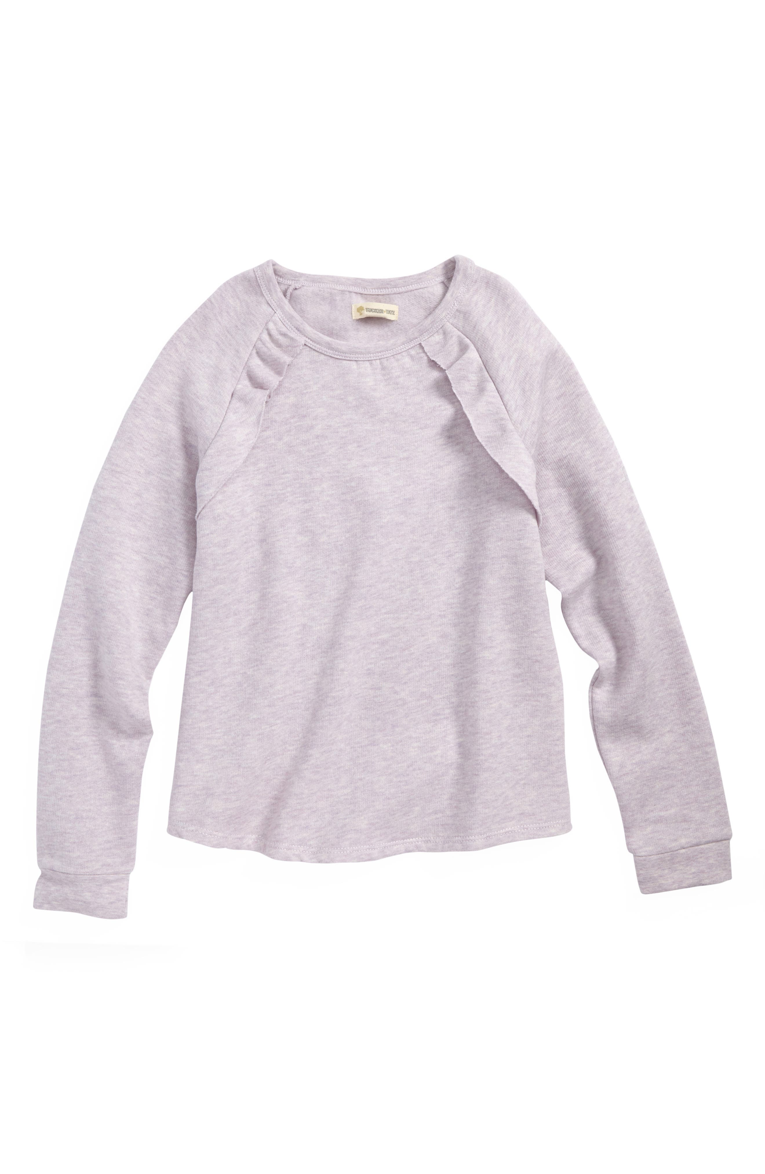 Ruffle Fleece Sweatshirt,                         Main,                         color, PURPLE PETAL HEATHER